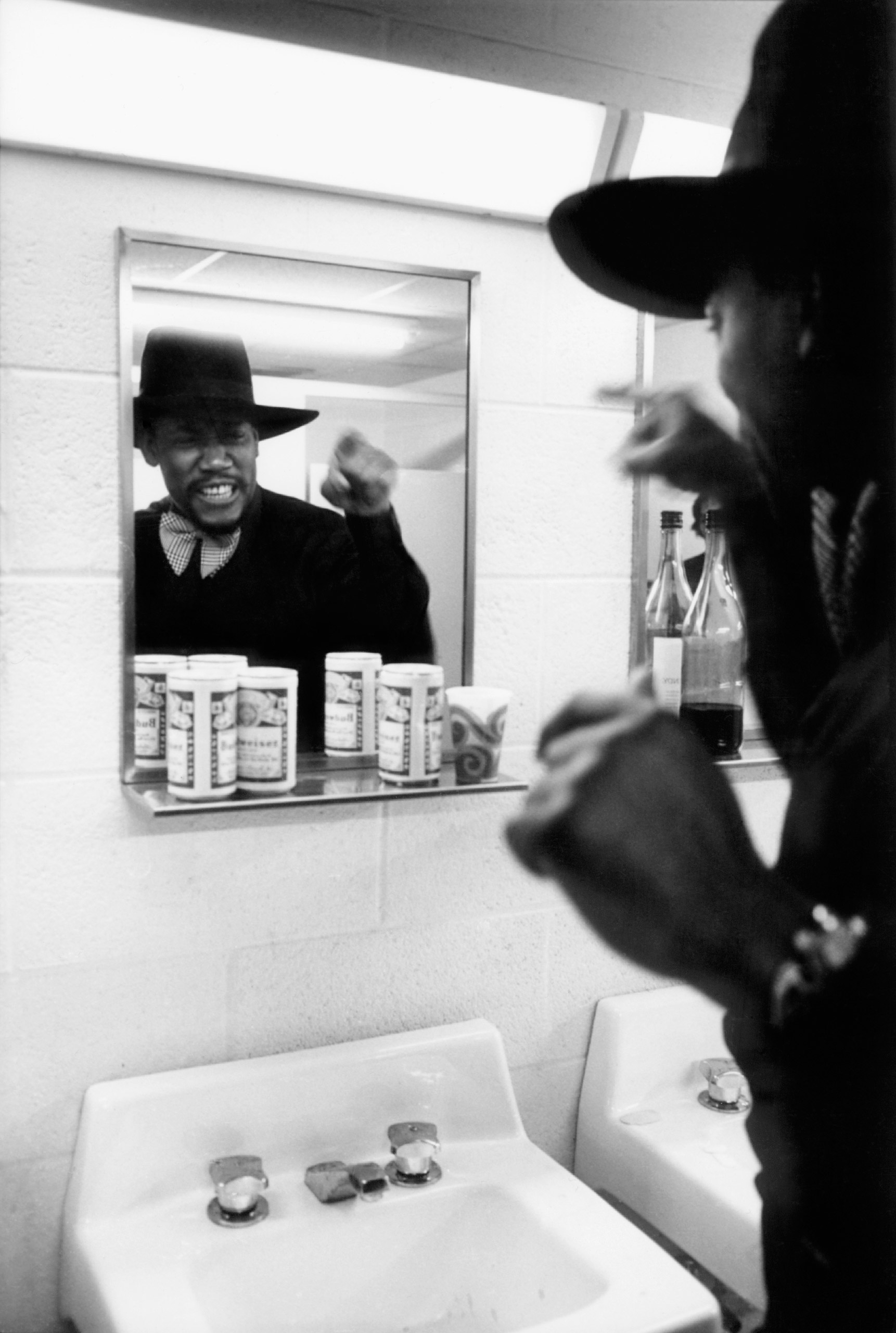 Clemons in a bathroom, talking to himself to get psyched up before a performance.