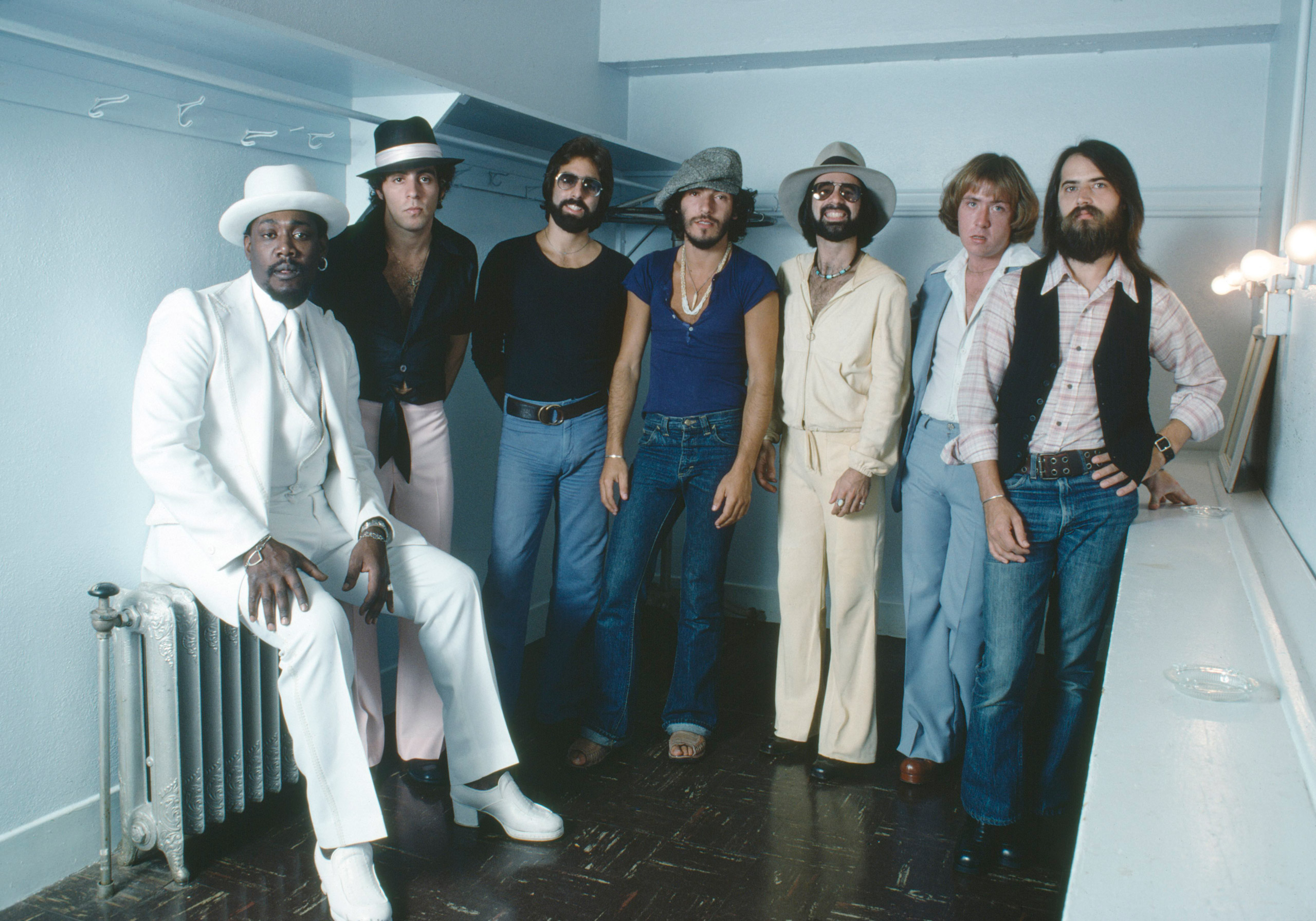 Bruce Springsteen and the E Street Band in a backstage dressing room in Oklahoma City, Oklahoma.