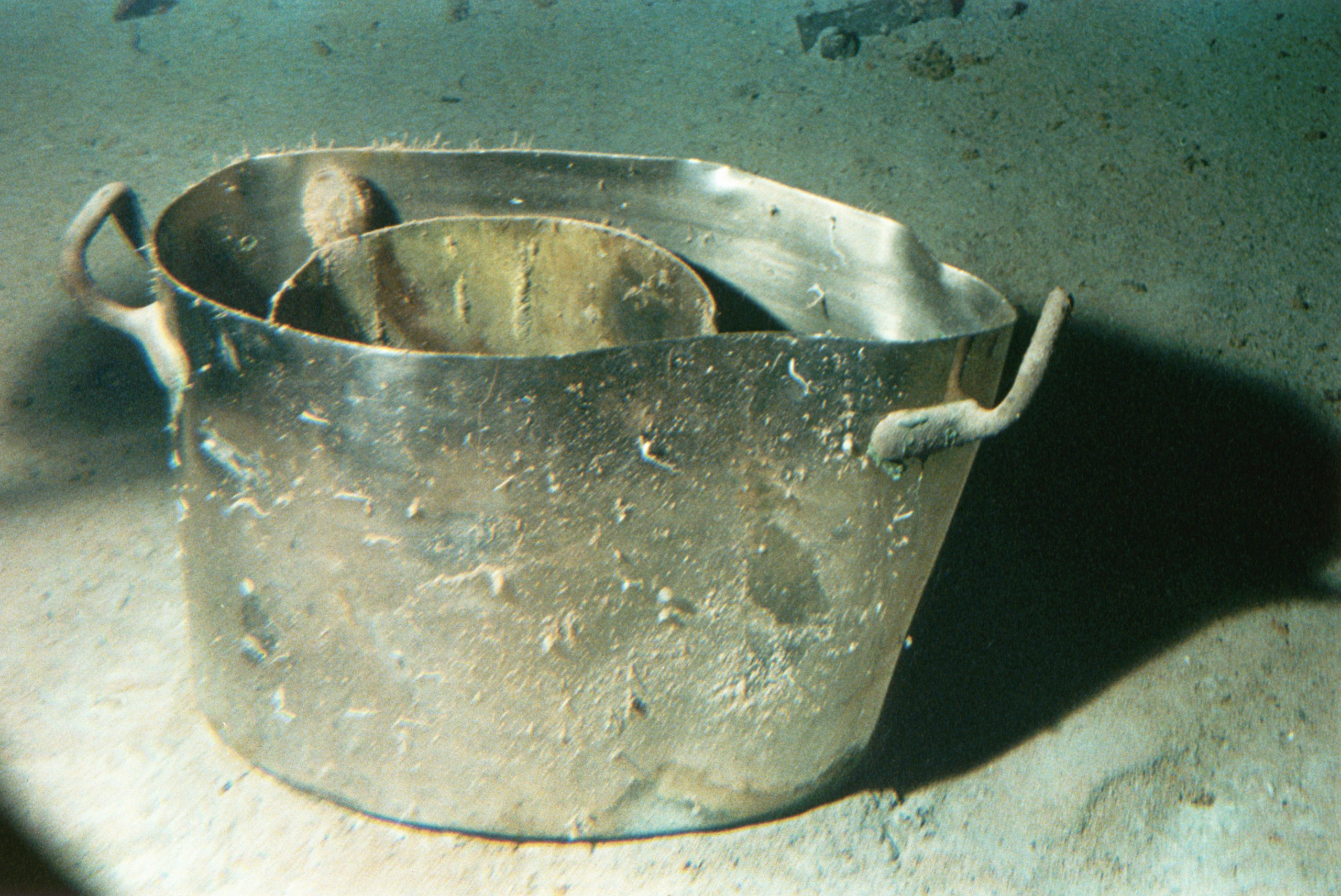 ca.1987-1991 --- Cooking Pots from Titanic Shipwreck.