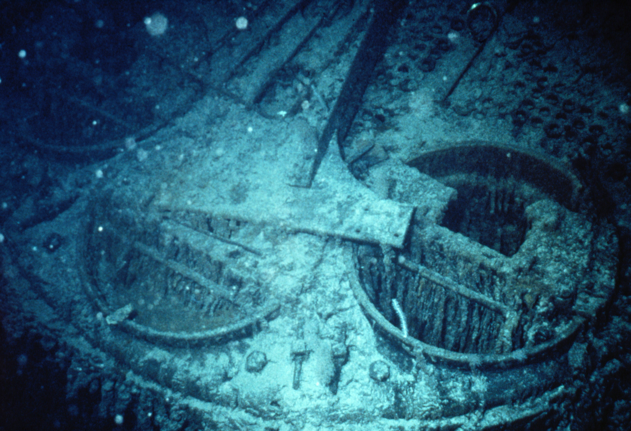 ca.1987-1991 --- The stoking ports of a boiler in the debris field of the shipwrecked Titanic.