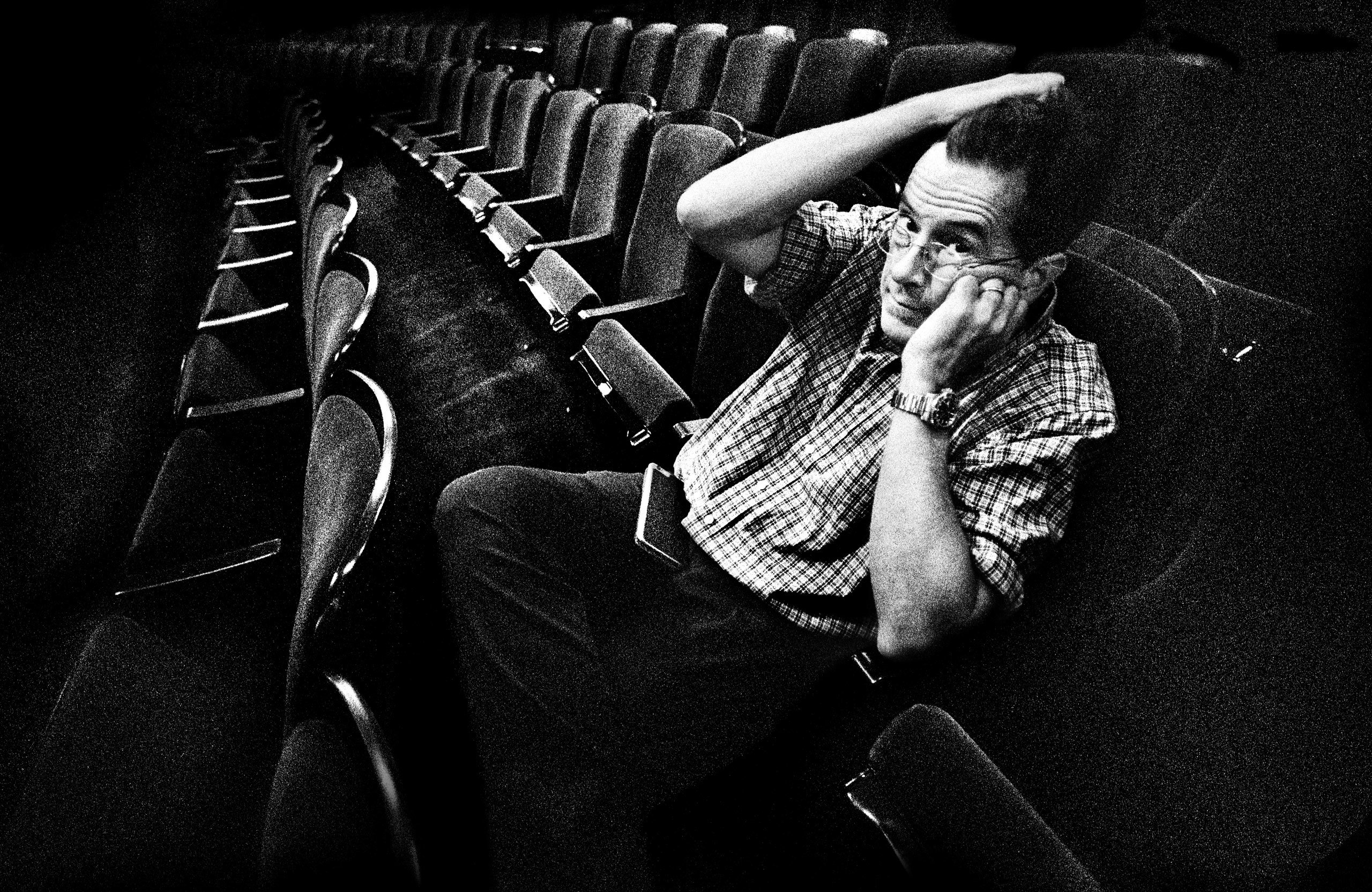 Stephen Colbert sitting in the newly installed chairs at the Ed Sullivan theater. Aug. 13, 2015.