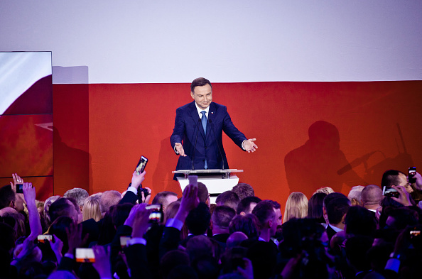 Andrzej Duda gestures to his supporters in Warsaw, Poland, on May 24, 2015