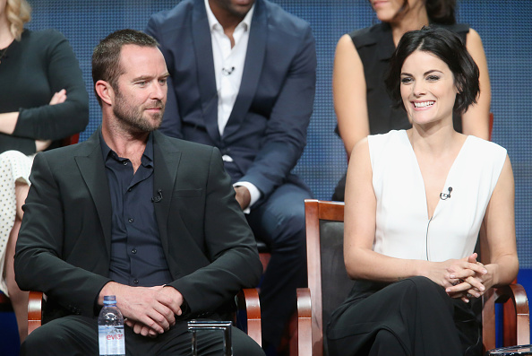 Executive producer Sarah Schechter, actors Ashley Johnson, Rob Brown, Audrey Esparza , executive producer Greg Berlanti, actors Marianne Jean-Baptiste, Sullivan Stapleton, Jaimie Alexander and creator/executive producer Martin Gero speak onstage during NBC's 'Blindspot' panel discussion at the 2015 Summer TCA Tour in Beverly Hills, Calif. on August 13, 2015.
