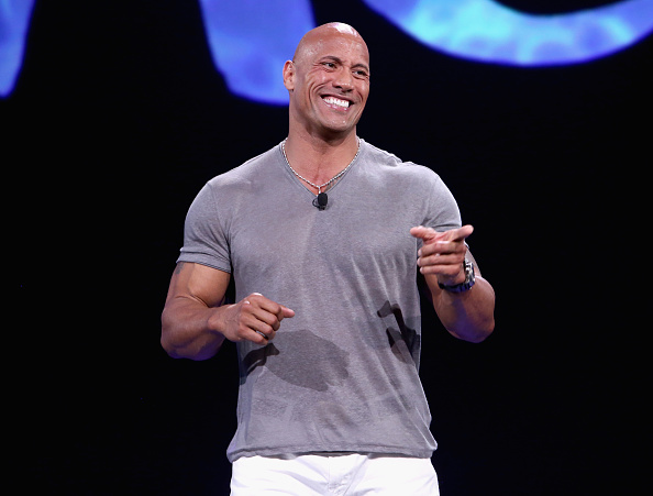 Dwayne Johnson of Moana takes part in Pixar and Walt Disney Animation Studios: The Upcoming Films presentation at Disney's D23 Expo in Anaheim