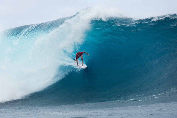 Mick Fanning of Australia won his first heat back in competition at the Billabong Pro Tahiti after his shark encounter in South Africa four weeks ago in Teahupo'o, French Polynesia, on August 15, 2015.