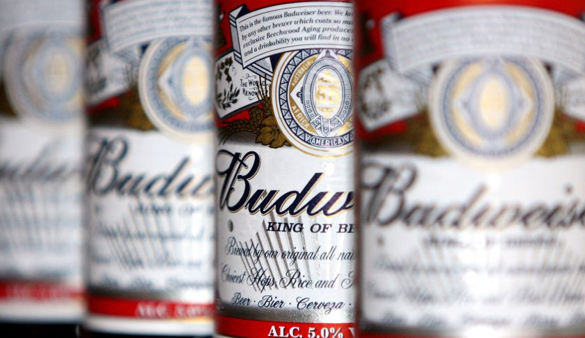 Bottles of Budweiser beer.