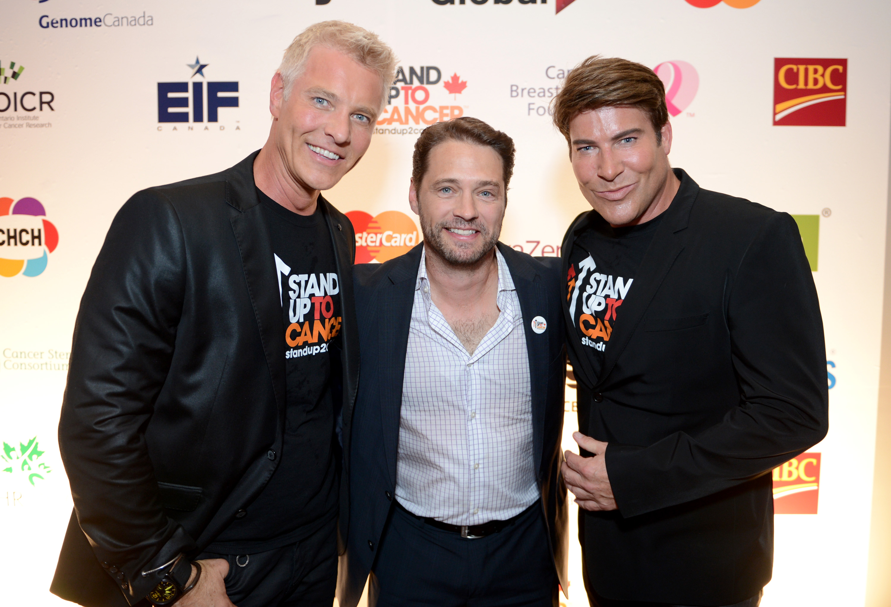 Steven Sabados, and from left, Jason Priestley and Chris Hyndman attend Stand Up To Cancer Canada on Friday, Sept. 5, 2014, in Toronto