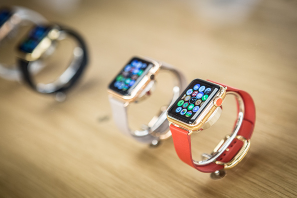 Apple Watches on display in Madrid, Spain on June 26, 2015.