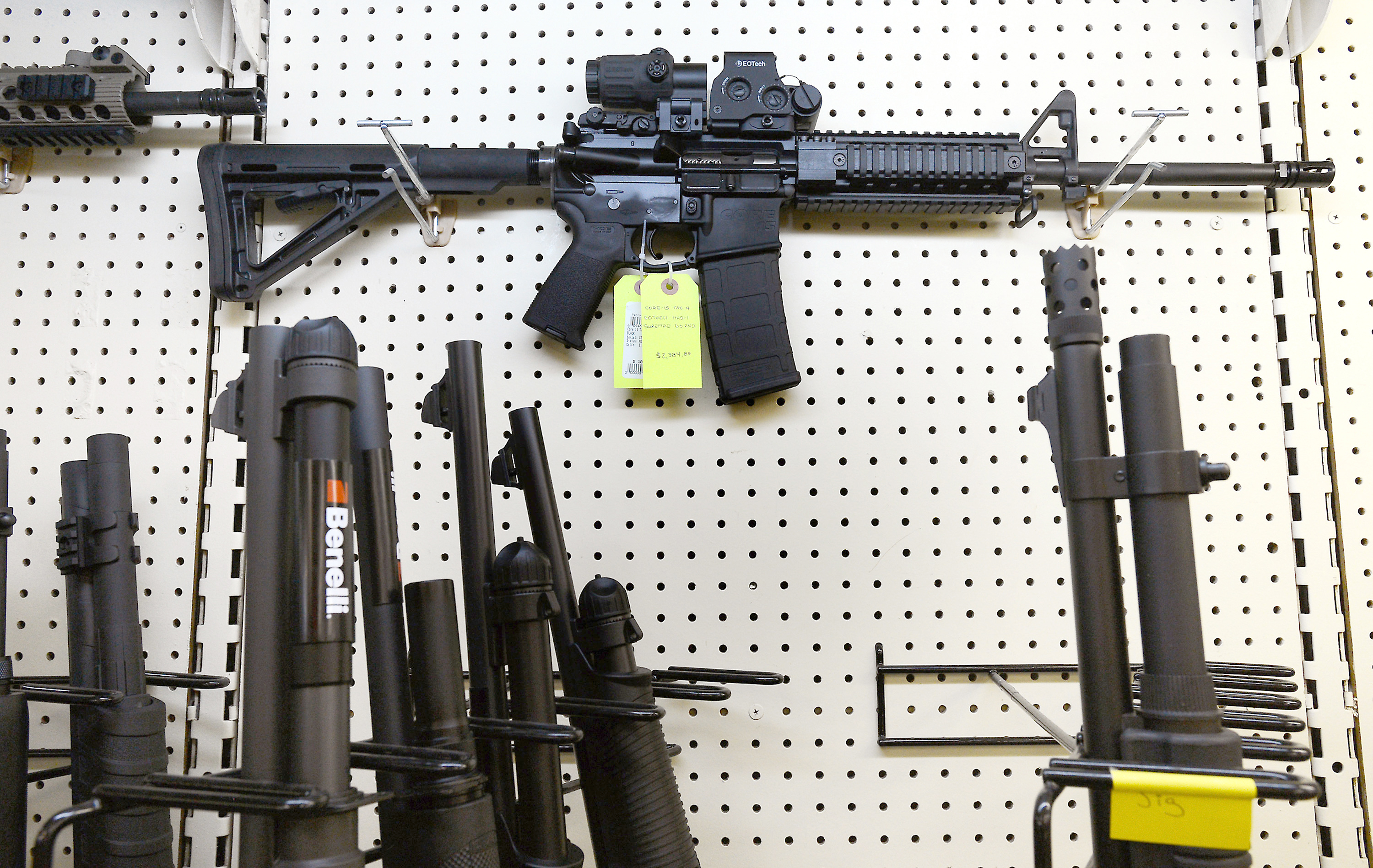 On display at Perry's Gun Shop in Wendell, N.C., an AR-15 assault rifle manufactured by Core15 Rifle Systems.