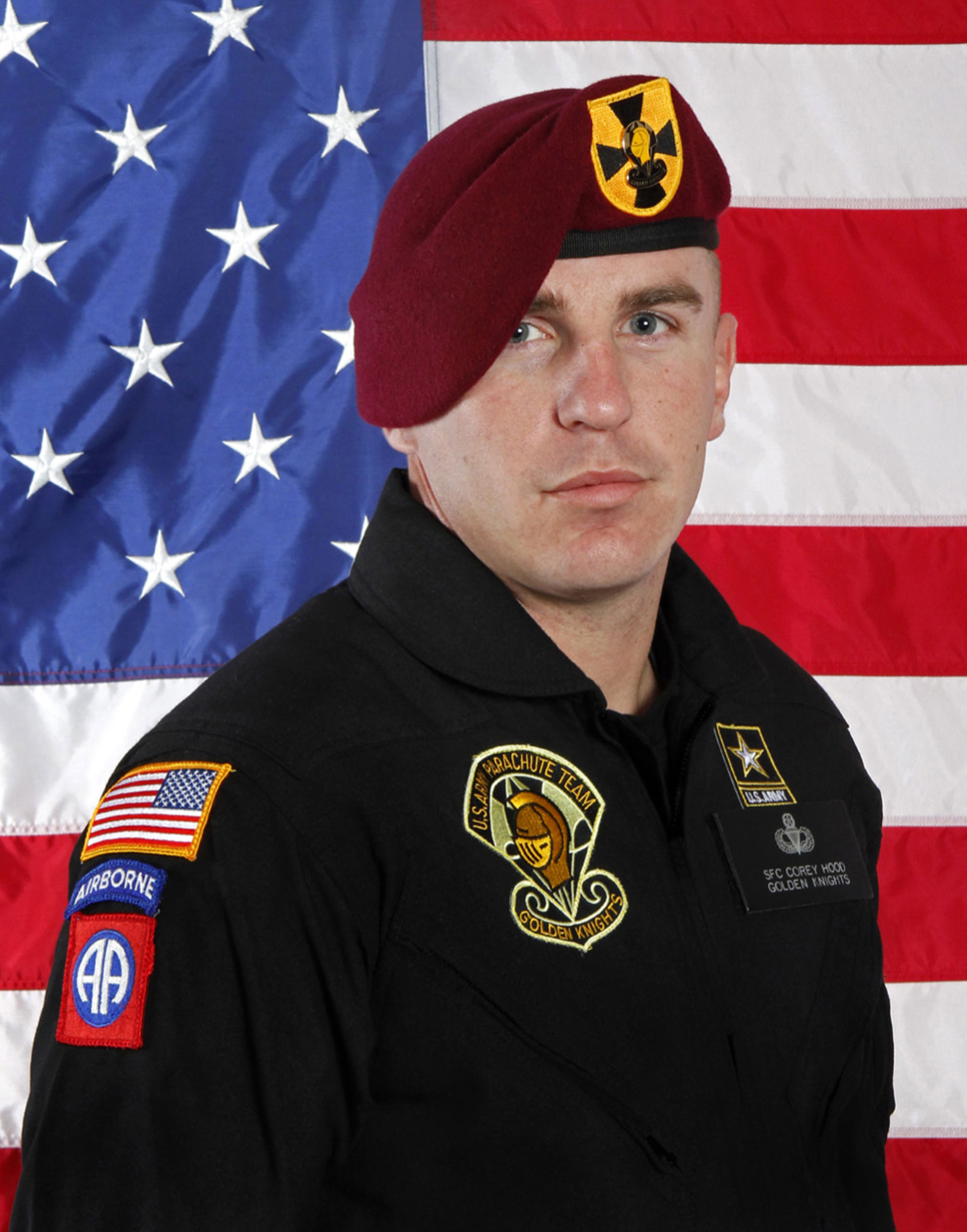 This undated photo provided by the U.S. Army shows Sgt. 1st Class Corey Hood, a parachutist who died after an accident during a stunt at the Chicago Air and Water Show on Aug. 16, 2015 .