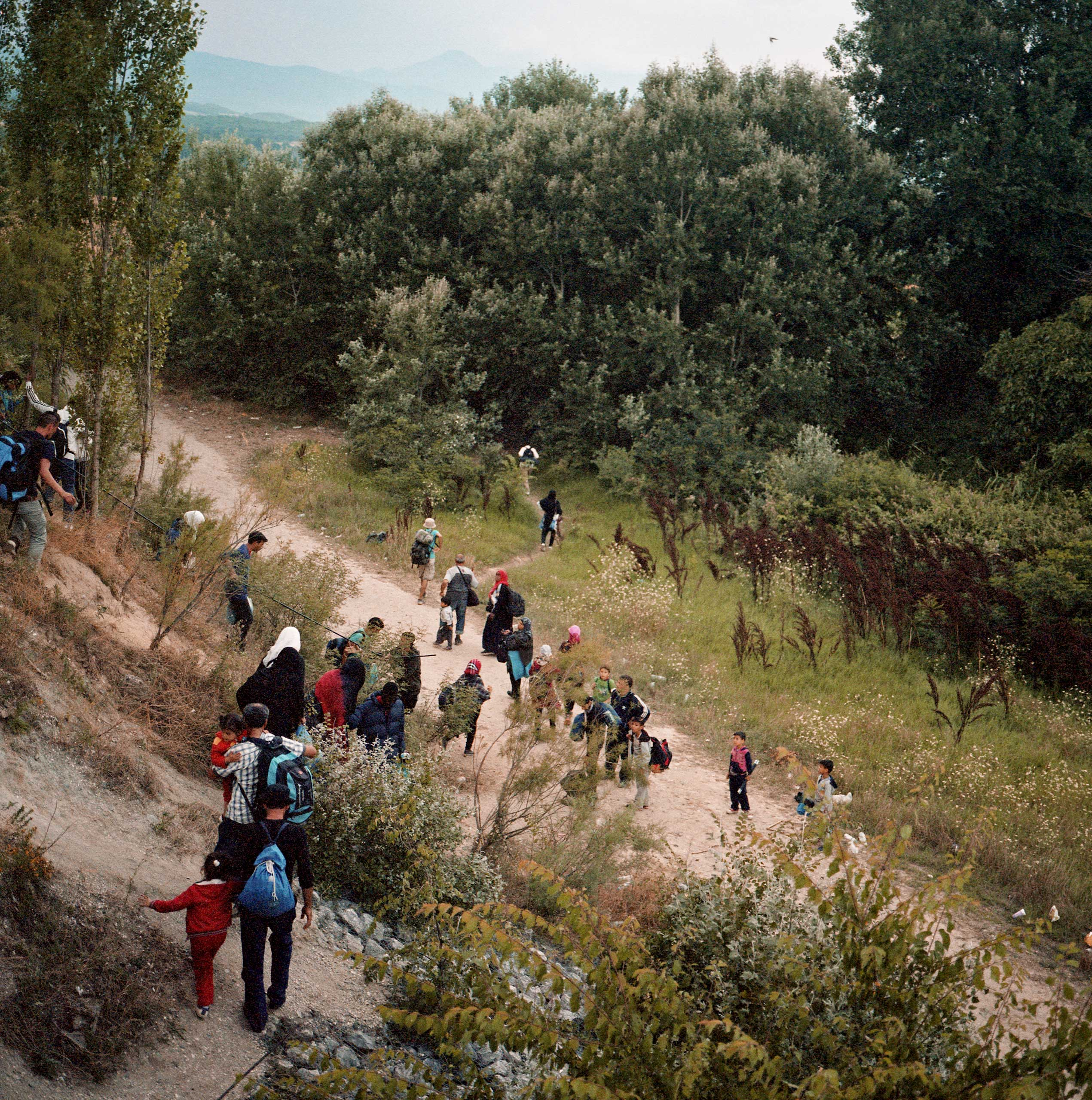 By late afternoon groups of migrants attempt an illegal crossing through the hilly forests into Macedonian territory. Greece, June 2015.