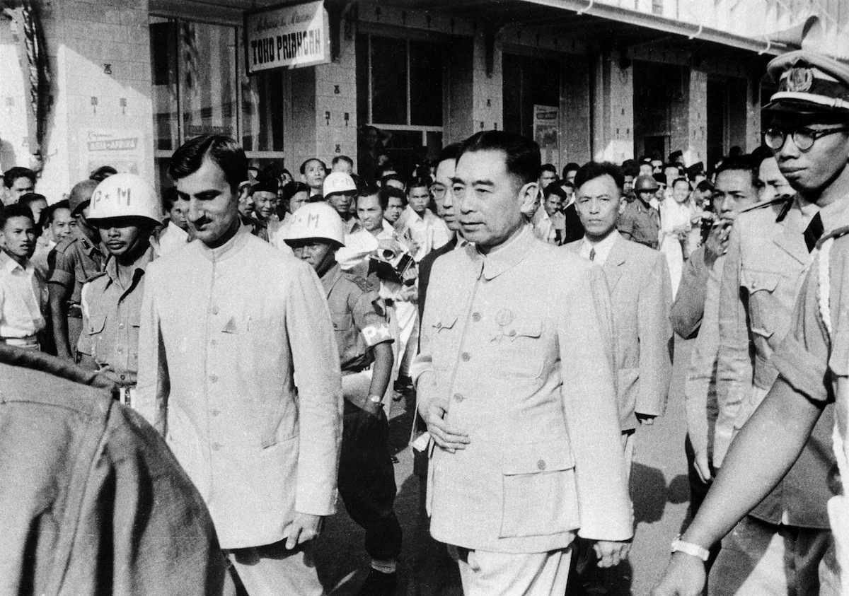 Zhou En-Lai, chief of the Chinese government, arrives at the Non-Aligned Countries Conference, on April 17, 1955