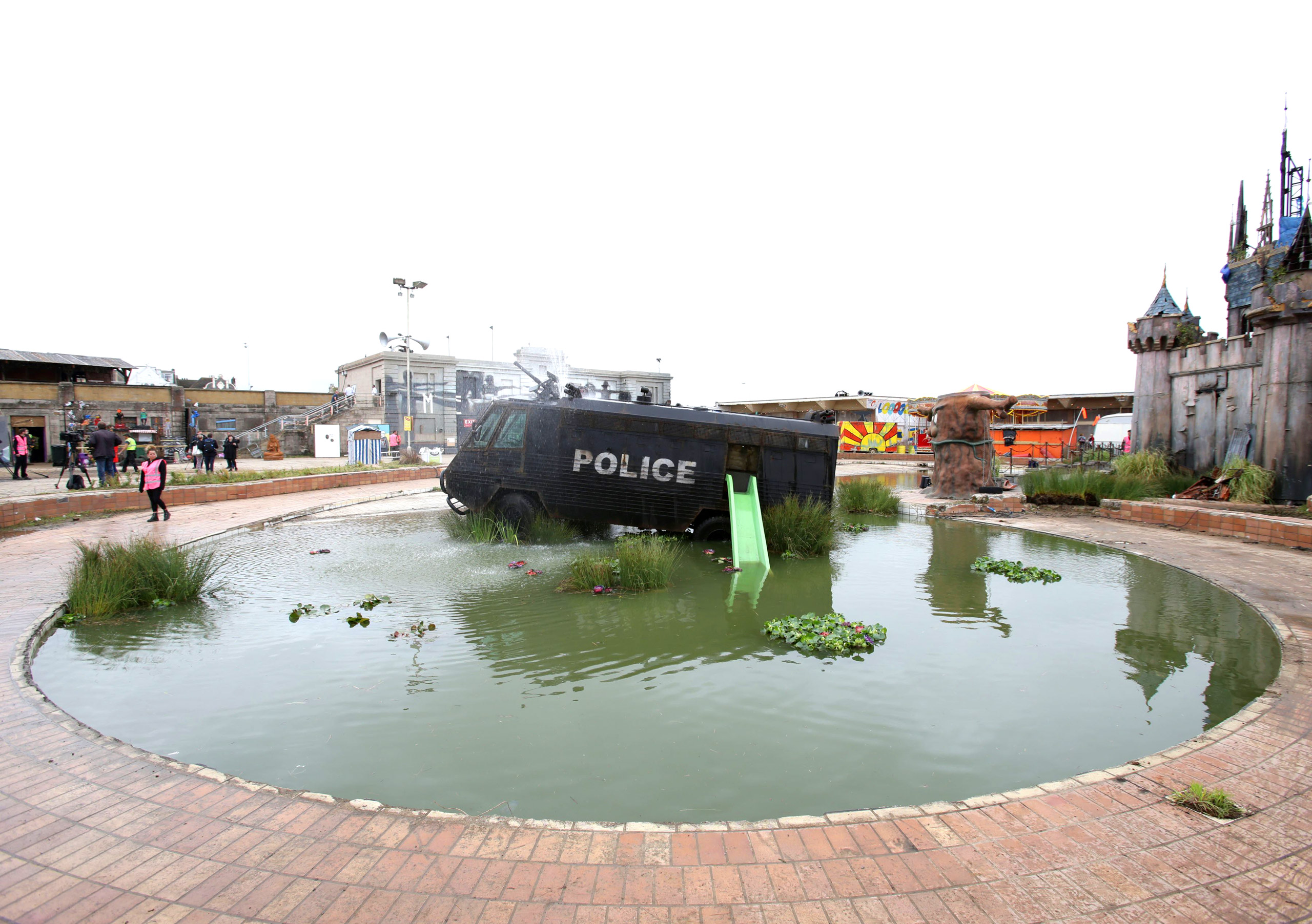 An armored police riot van built to serve on the streets of Northern Ireland in Water Canon Creek.