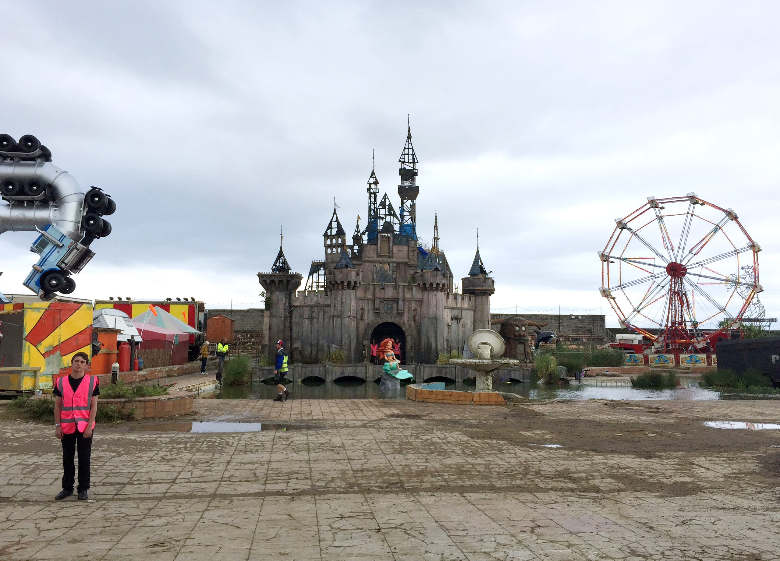 A general view of Dismaland Bemusement Park, a collection of satirical art and sculpture by the graffiti artist Banksy, in Weston-super-Mare, Somerset, England.
