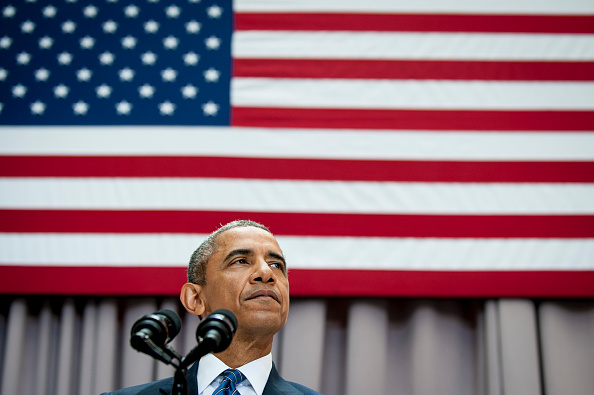 President Barack Obama speaks about the Iran nuclear agreement  August 5, 2015 at American University in Washington, DC. Obama is pushing for congress to appove the nuclear deal reached with Iran.