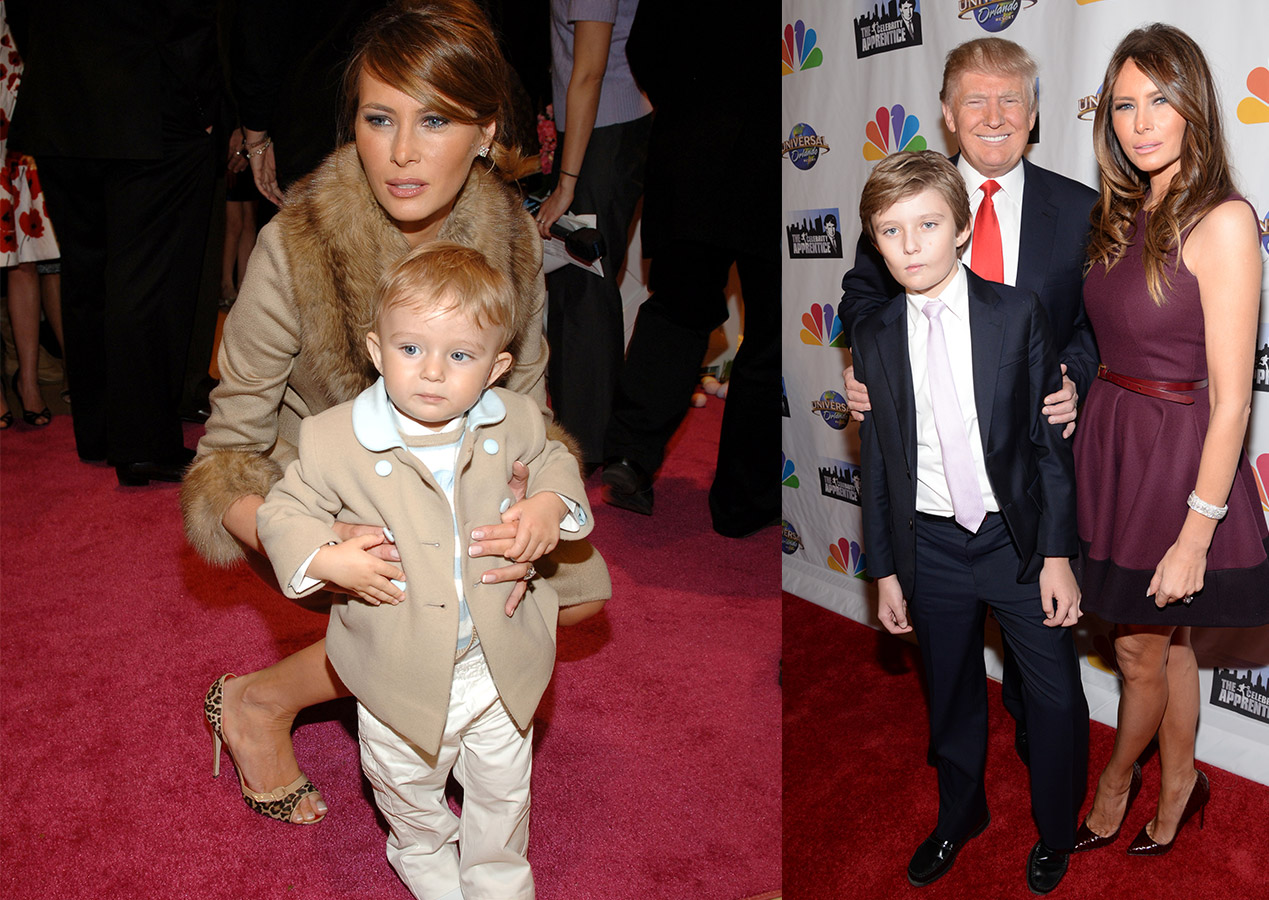 <i>Left:</i> Donald Trump's son Barron with his mother Melania at the FAO Schwarz in New York City; <i>Right:</i> Barron Trump with his father, Donald Trump and mother, Melania Knauss  on Feb. 16th, 2015.