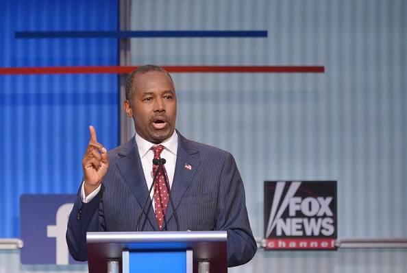 Retired neurosurgeon Ben Carson speaks during the prime time Republican presidential debate on August 6, 2015 at the Quicken Loans Arena in Cleveland, Ohio.