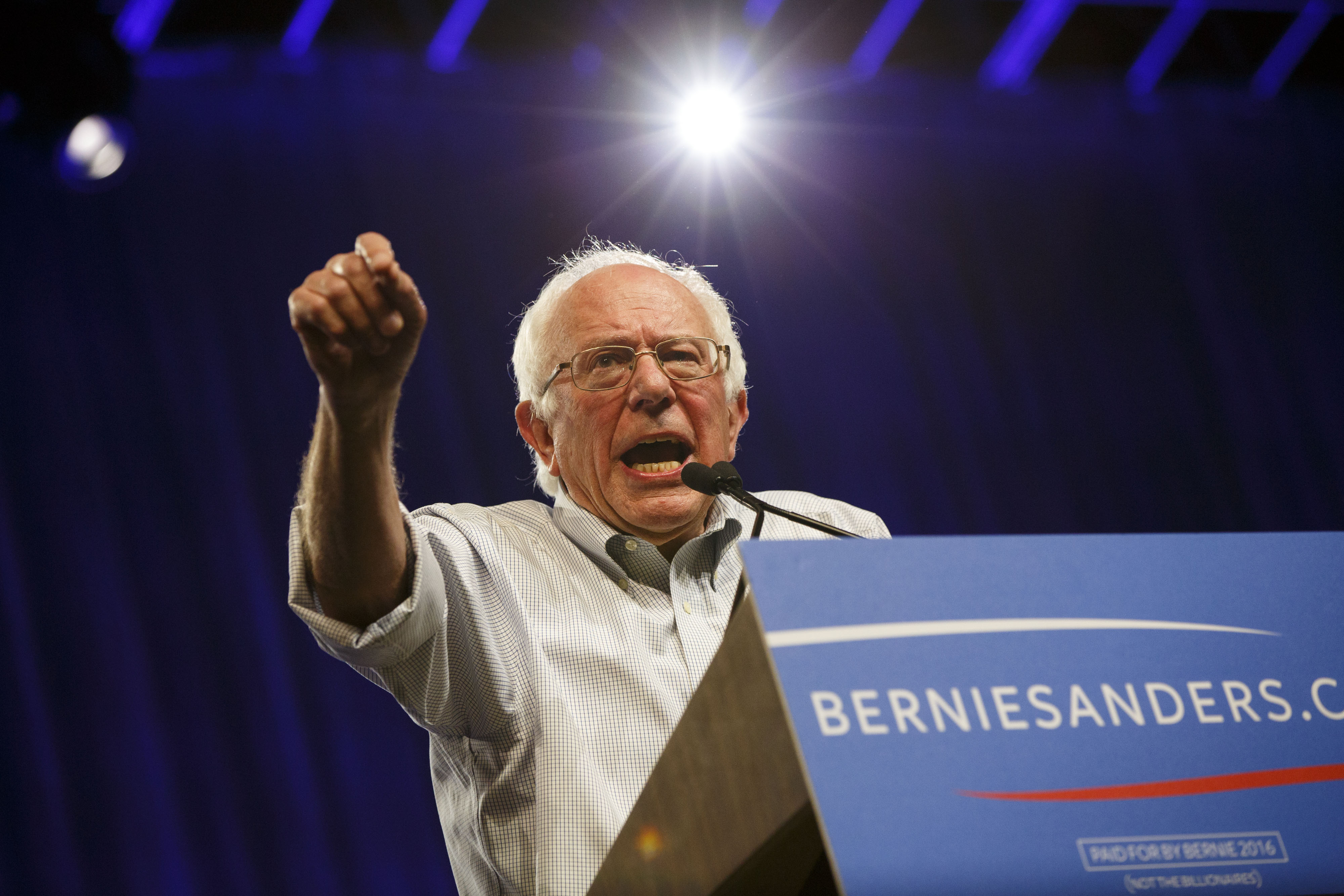 U.S. Senator Bernie Sanders gestures as he speaks during a campaign event at the LA Memorial Sports Arena in Los Angeles on Aug. 10, 2015.