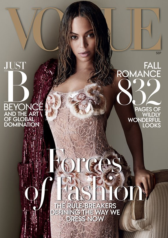 Beyoncé on the cover of Vogue's 2015 September issue.