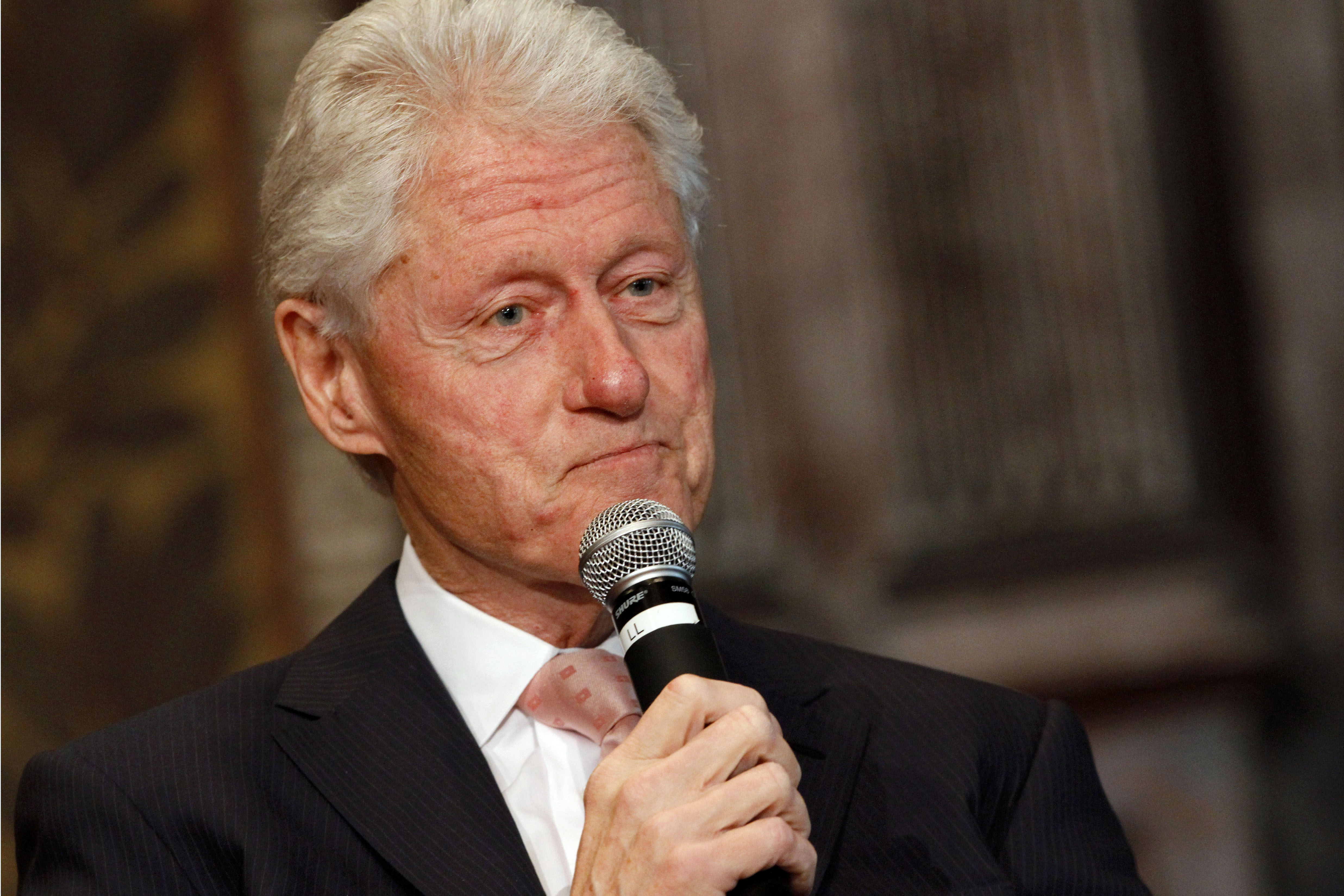 Former President Bill Clinton listens to a question after speaking at Georgetown University in Washington on April 21, 2015.