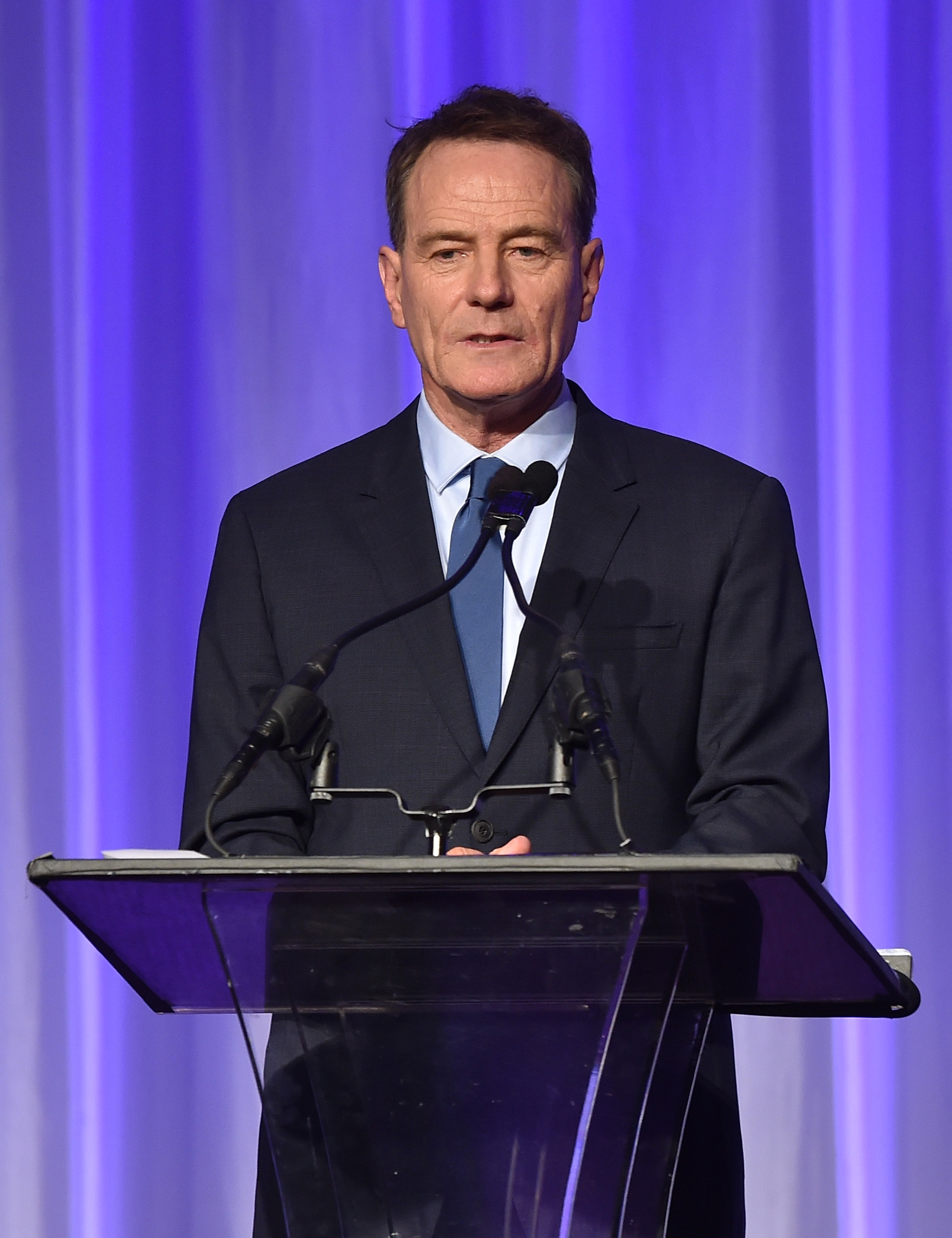 Actor Bryan Cranston accepts grant on behalf of LACC onstage during HFPA Annual Grants Banquet at the Beverly Wilshire Four Seasons Hotel on August 13, 2015 in Beverly Hills, California.
