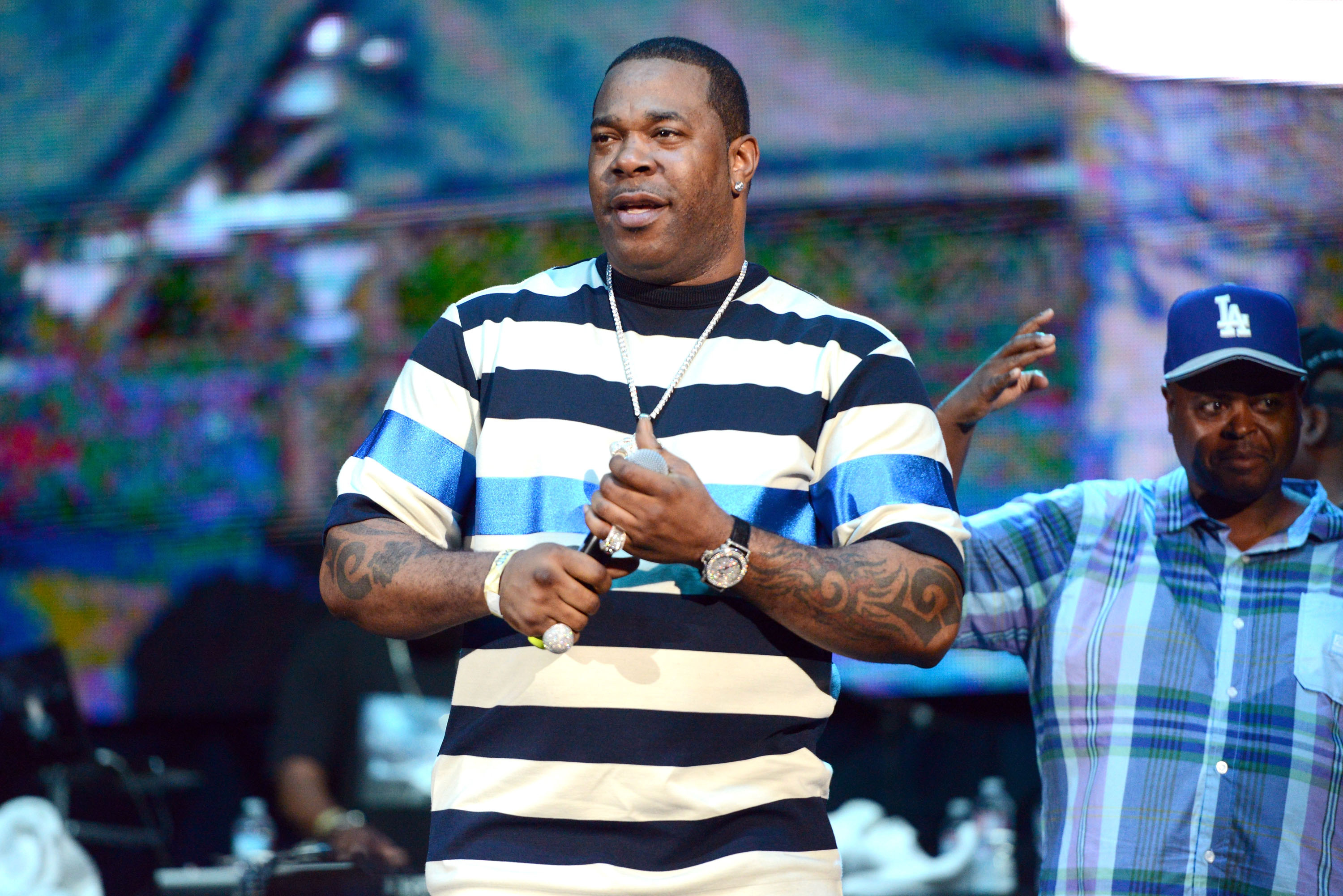 Busta Rhymes performs onstage at Irvine Meadows Amphitheatre on July 18 in Irvine, Calif..