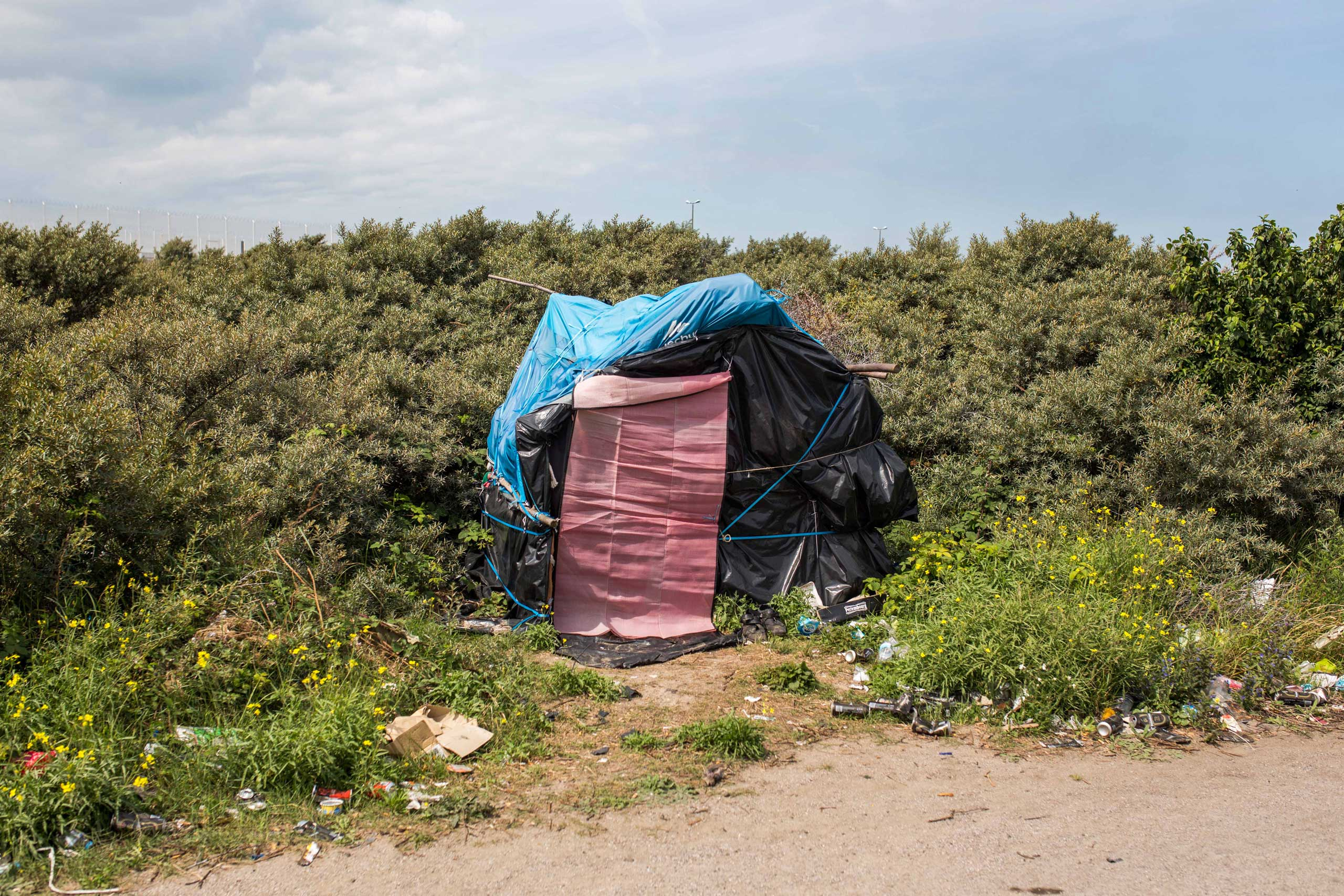 A tent at a make shift camp near the port of Calais in Calais, France, on July 31, 2015.
