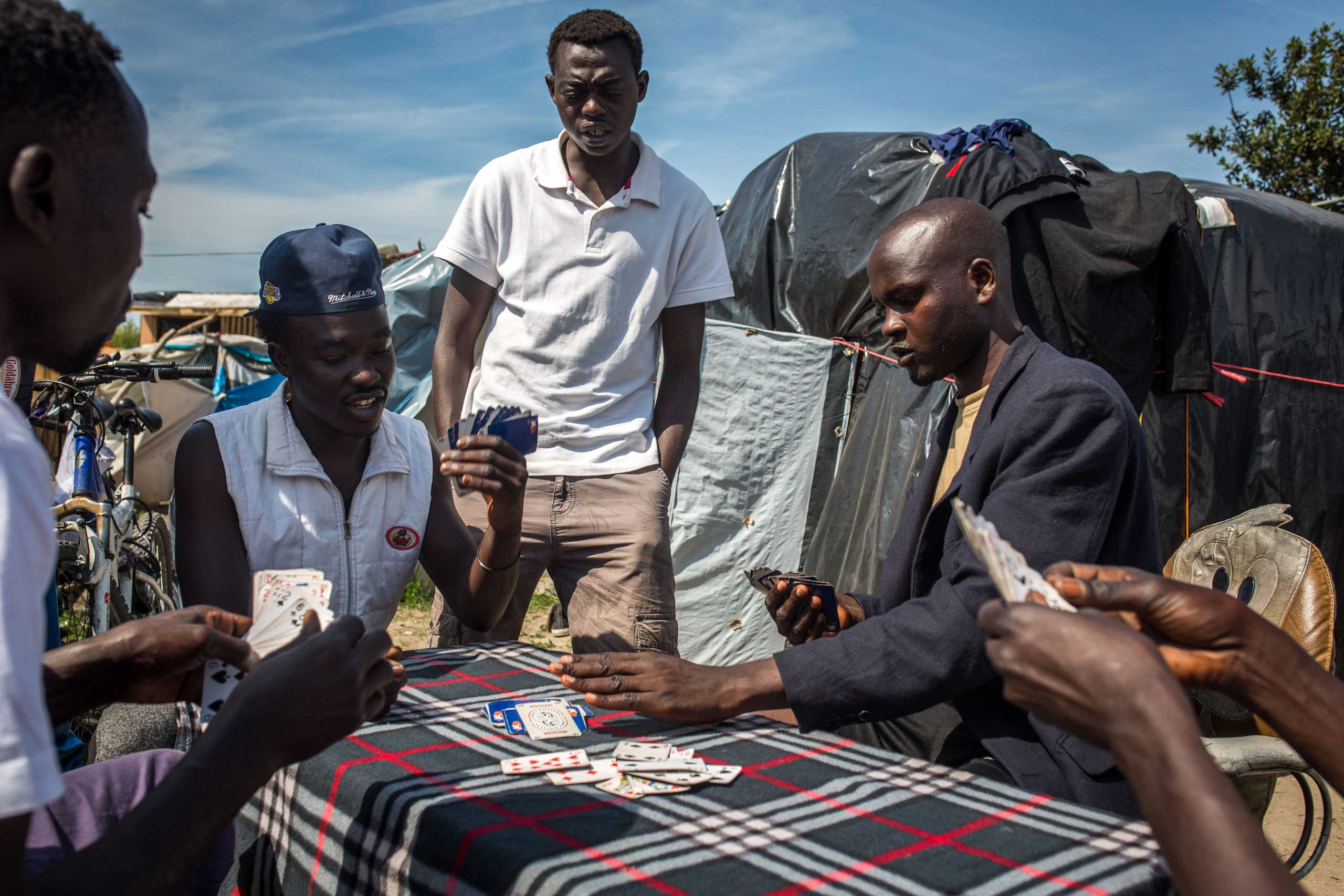 Sudanese men play cards in a make shift camp near the port of Calais, on Aug. 1, 2015.