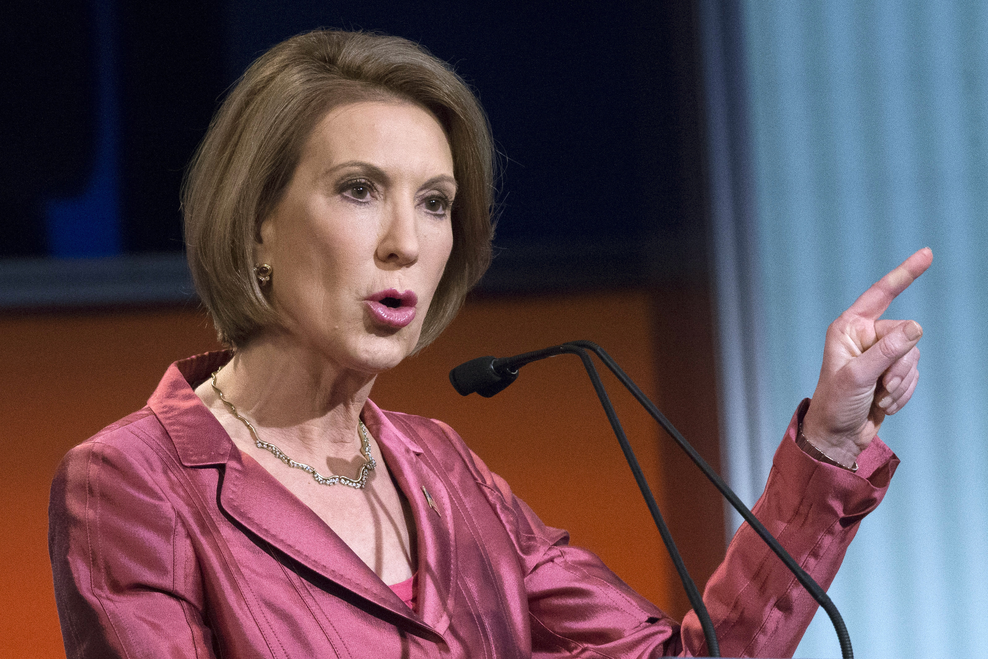 Republican presidential candidate Carly Fiorina speaks during a predebate forum in Cleveland on Aug. 6, 2015