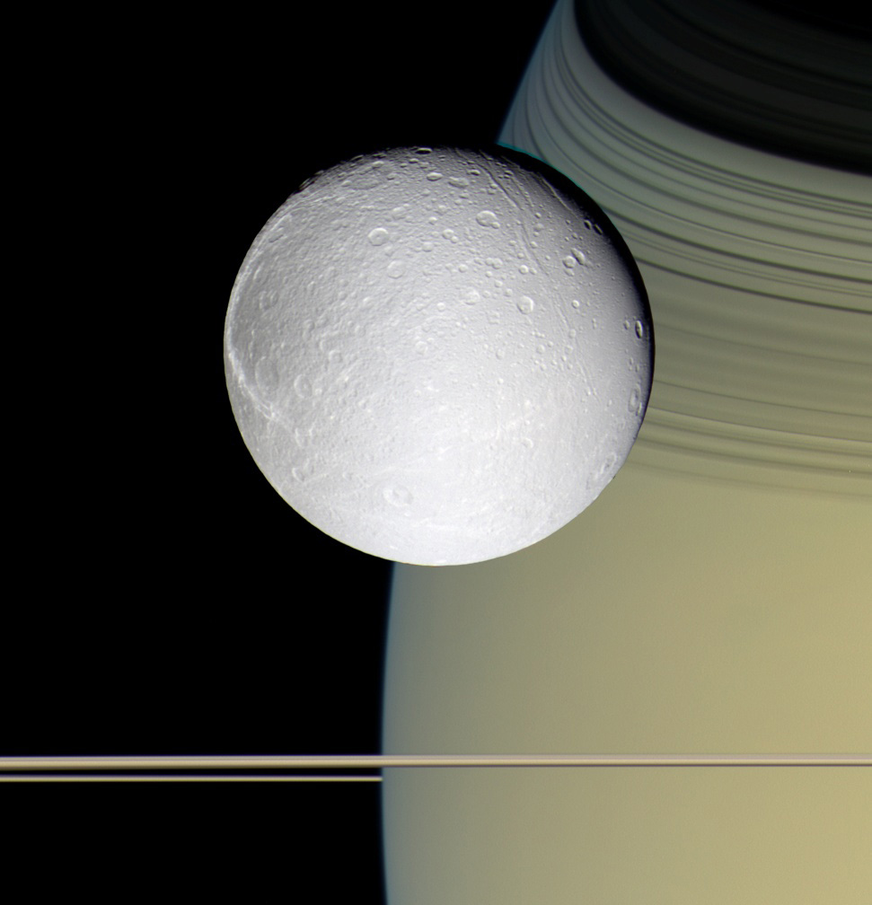 Pale, icy Dione, taken on Oct. 11, 2005.