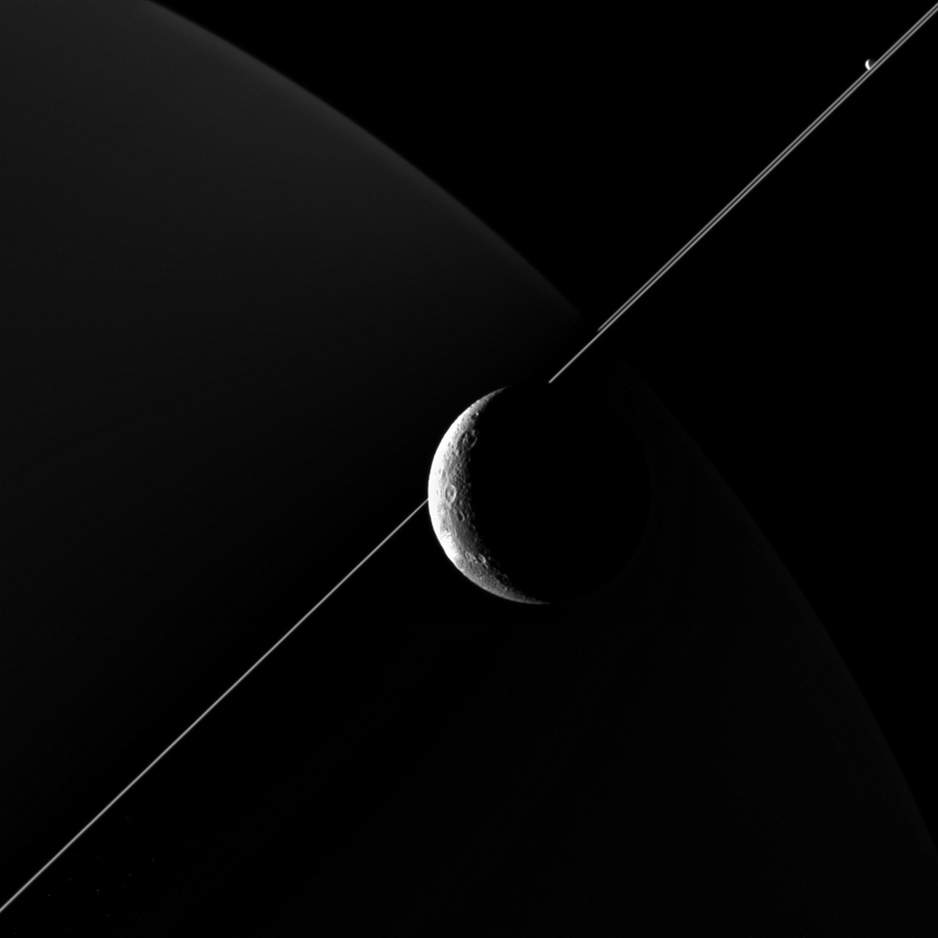 A view of Saturn's moon Dione, taken during a close flyby on Jun. 16, 2015.