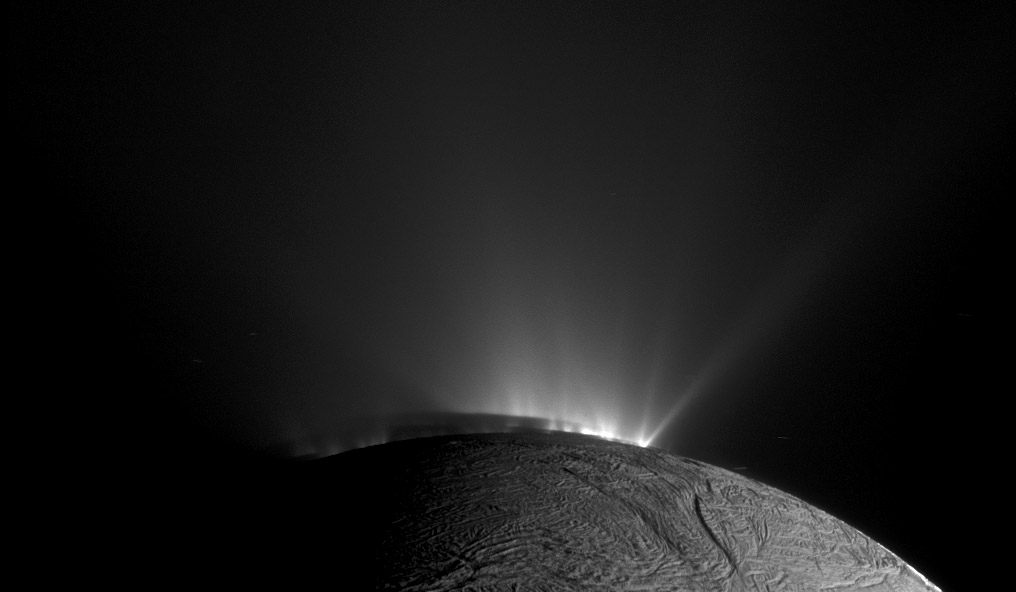 A geyser basin at the south pole of Enceladus on Nov. 30, 2010.