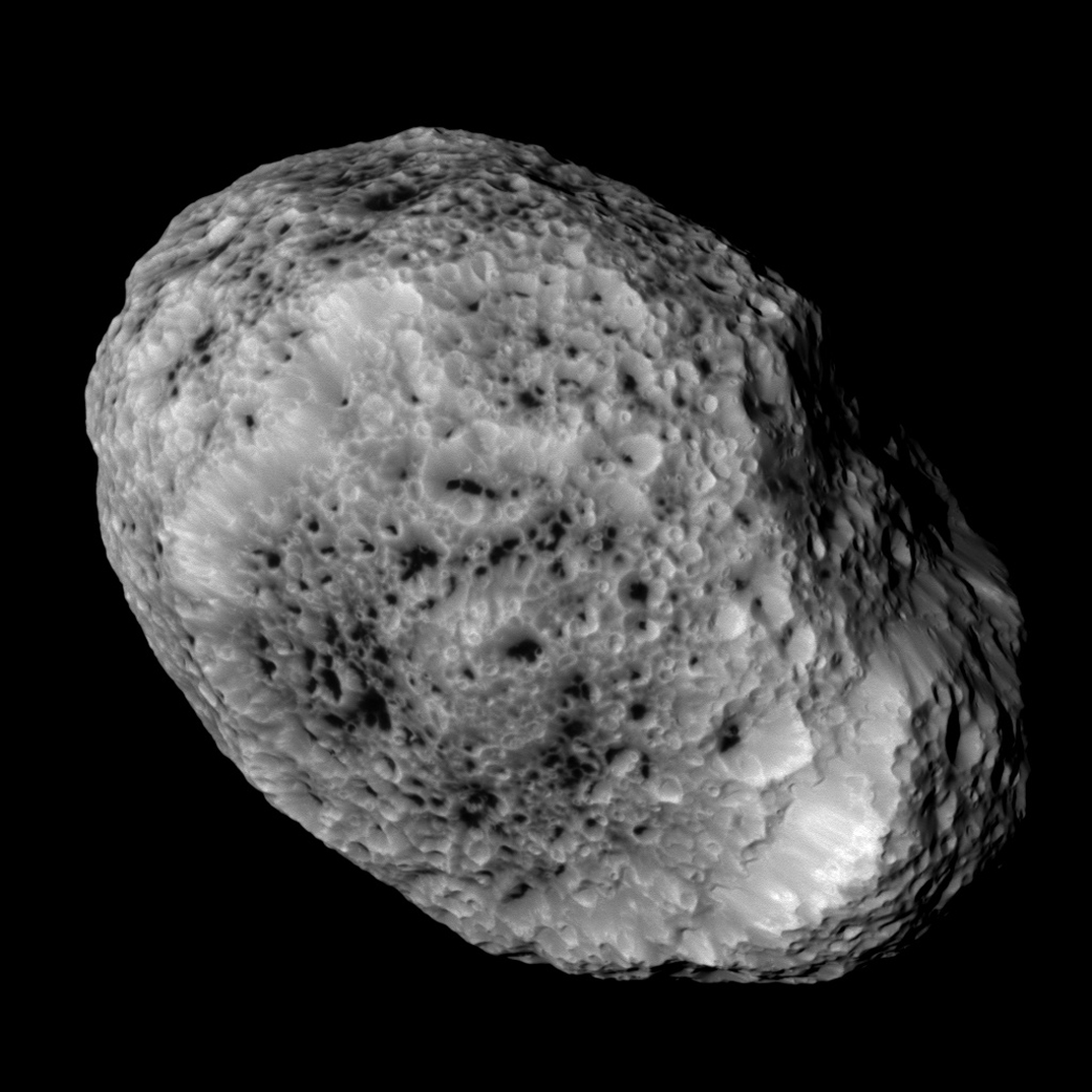 Saturn's moon Hyperion, taken during a close flyby on May 31, 2015. This flyby marks the mission's final close approach to Saturn's largest irregularly shaped moon.