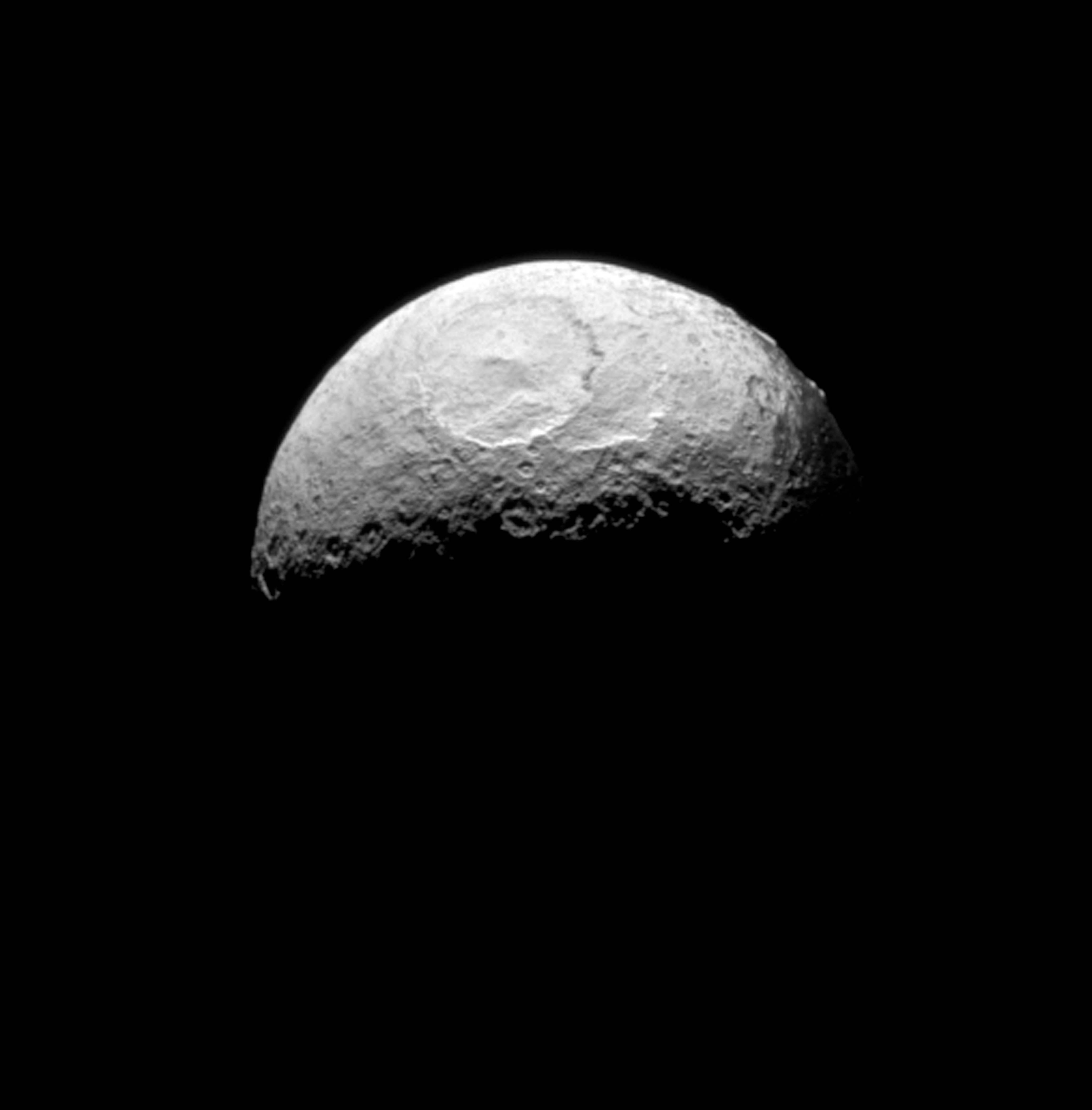 The Cassini spacecraft takes one of its last good looks at Iapetus, a Saturnian moon.