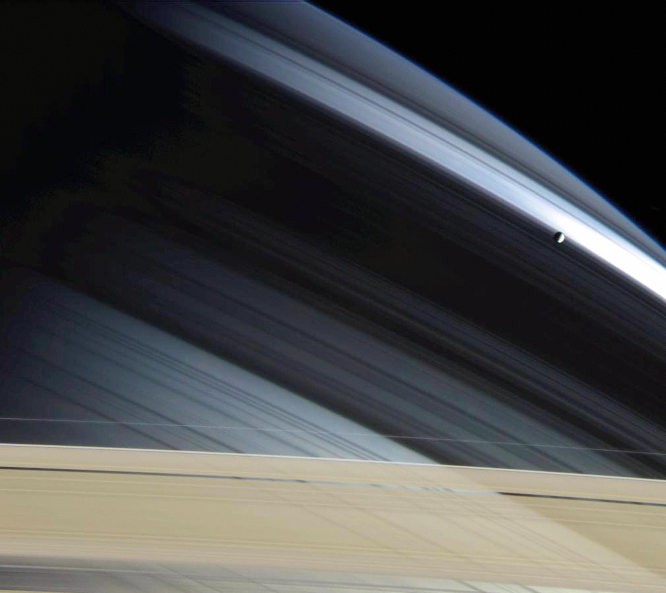 Saturn's lonely moon, Mimas on Nov. 30, 2004.