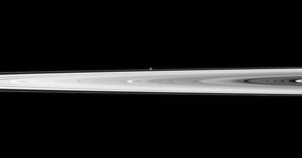 Pandora on the edge of Saturn's ring on Nov. 8, 2009.