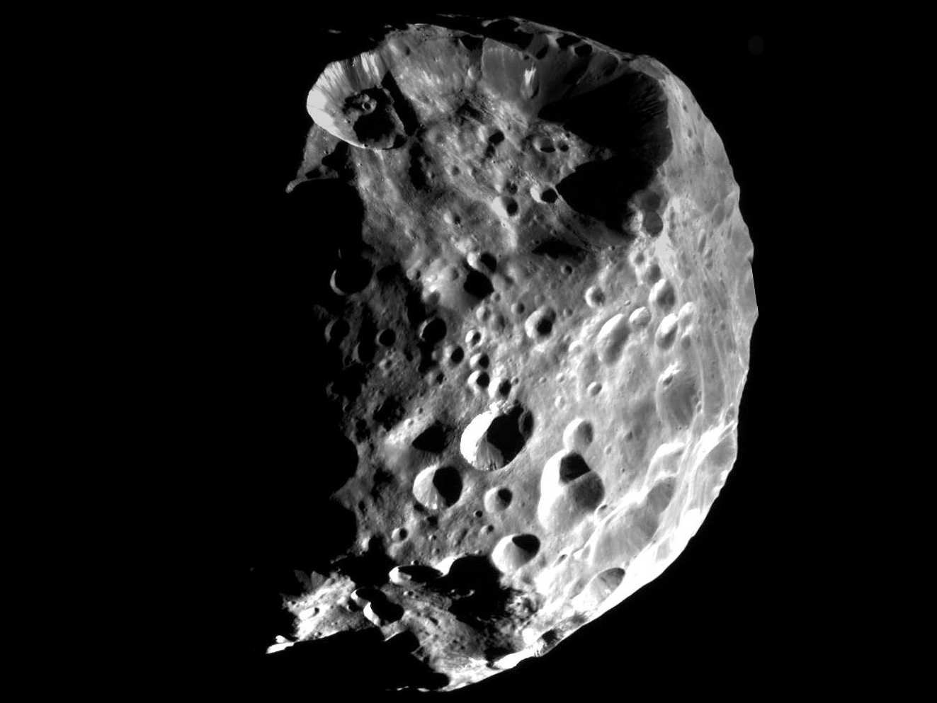 Phoebe, captured during Cassini's flyby on Jun. 11, 2004.