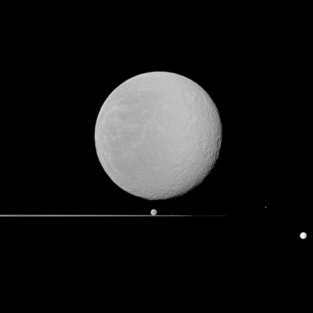 Five moons of Saturn dominated by Rhea in the foreground on Jan. 11, 2011.