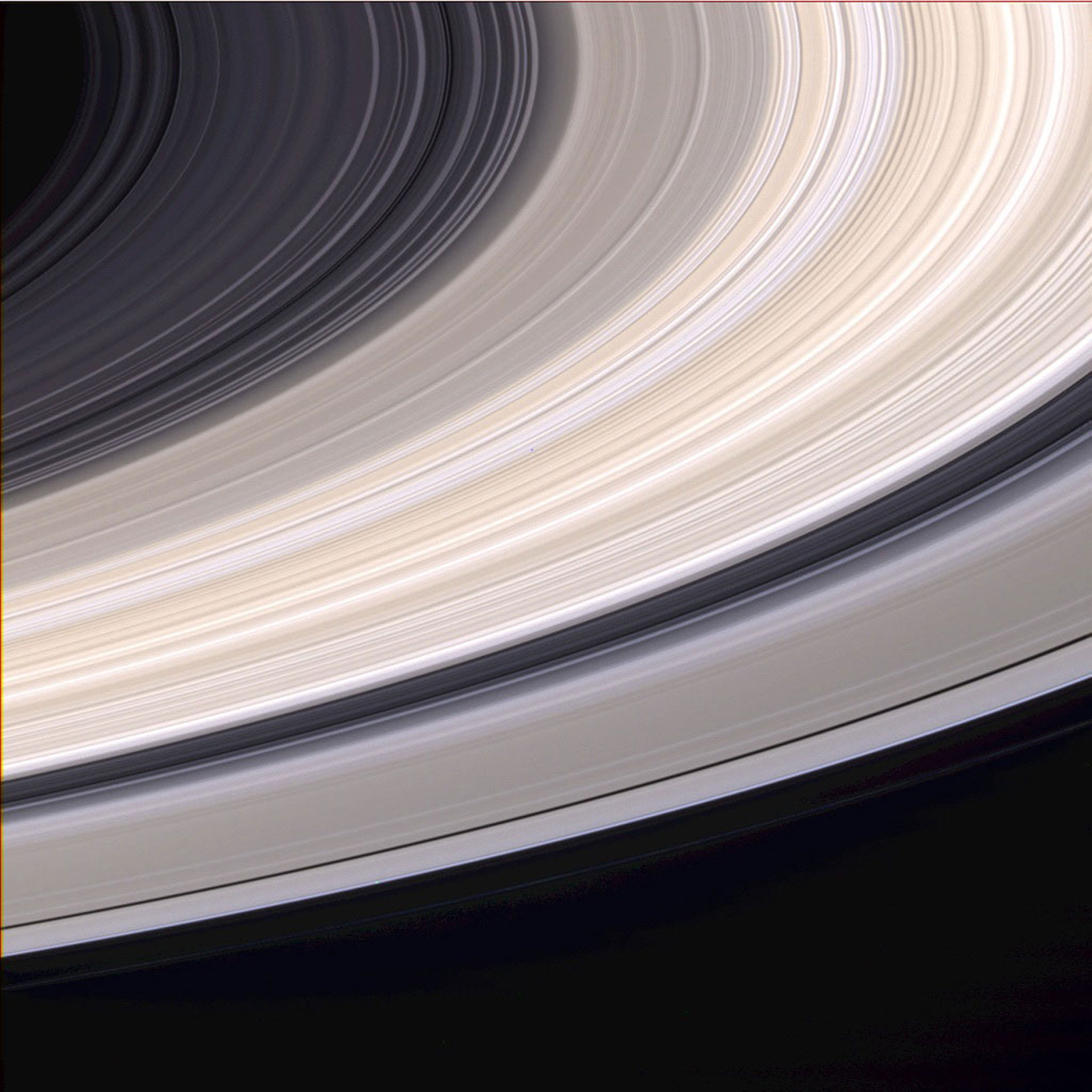 The rings of Saturn captured by Cassini before it entered the orbit on 21 Jun. 2004.
