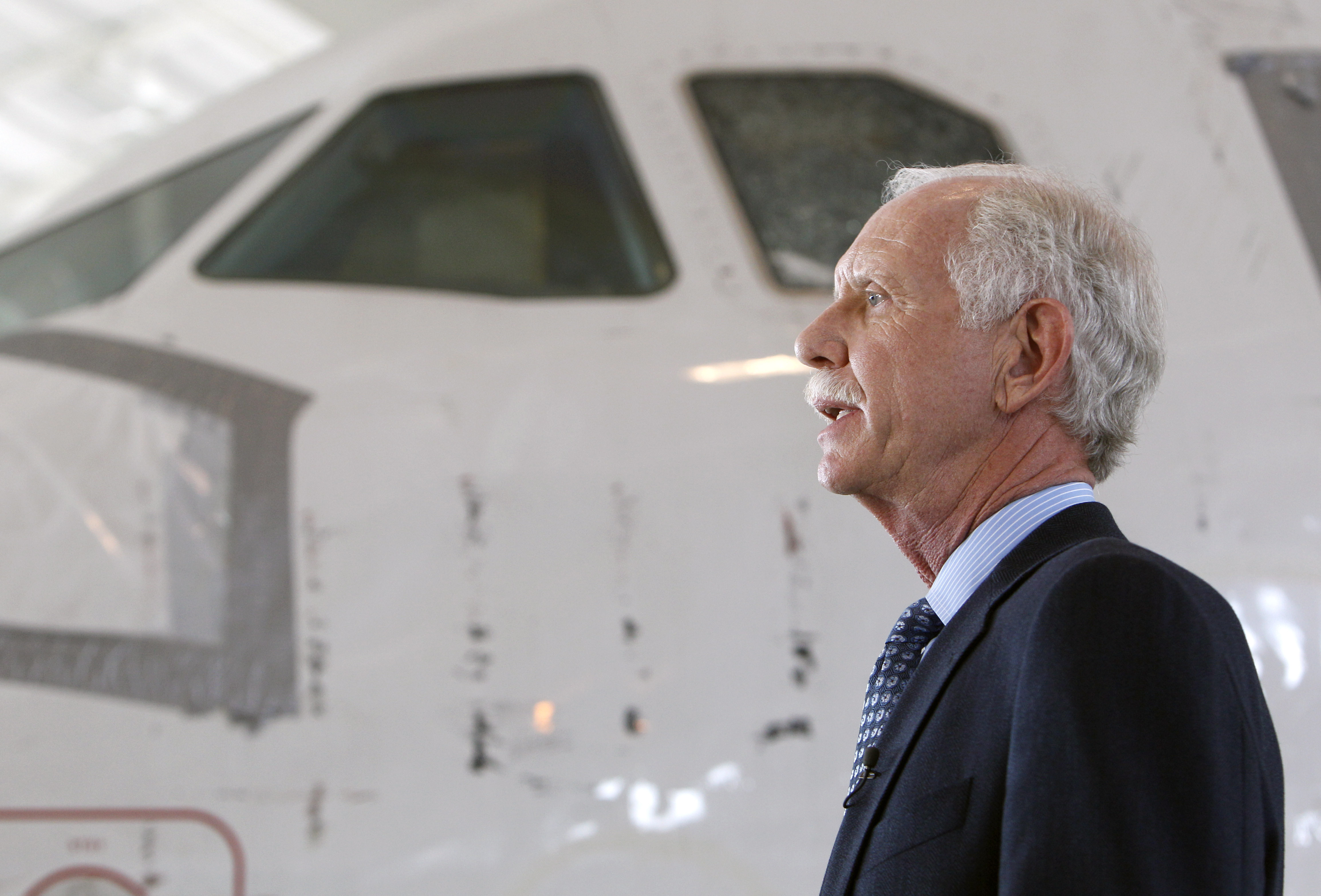 Former Capt. Chesley  Sully  Sullenberger talks with the media at the Carolina Aviation Museum on June 2011, in Charlotte, N.C.