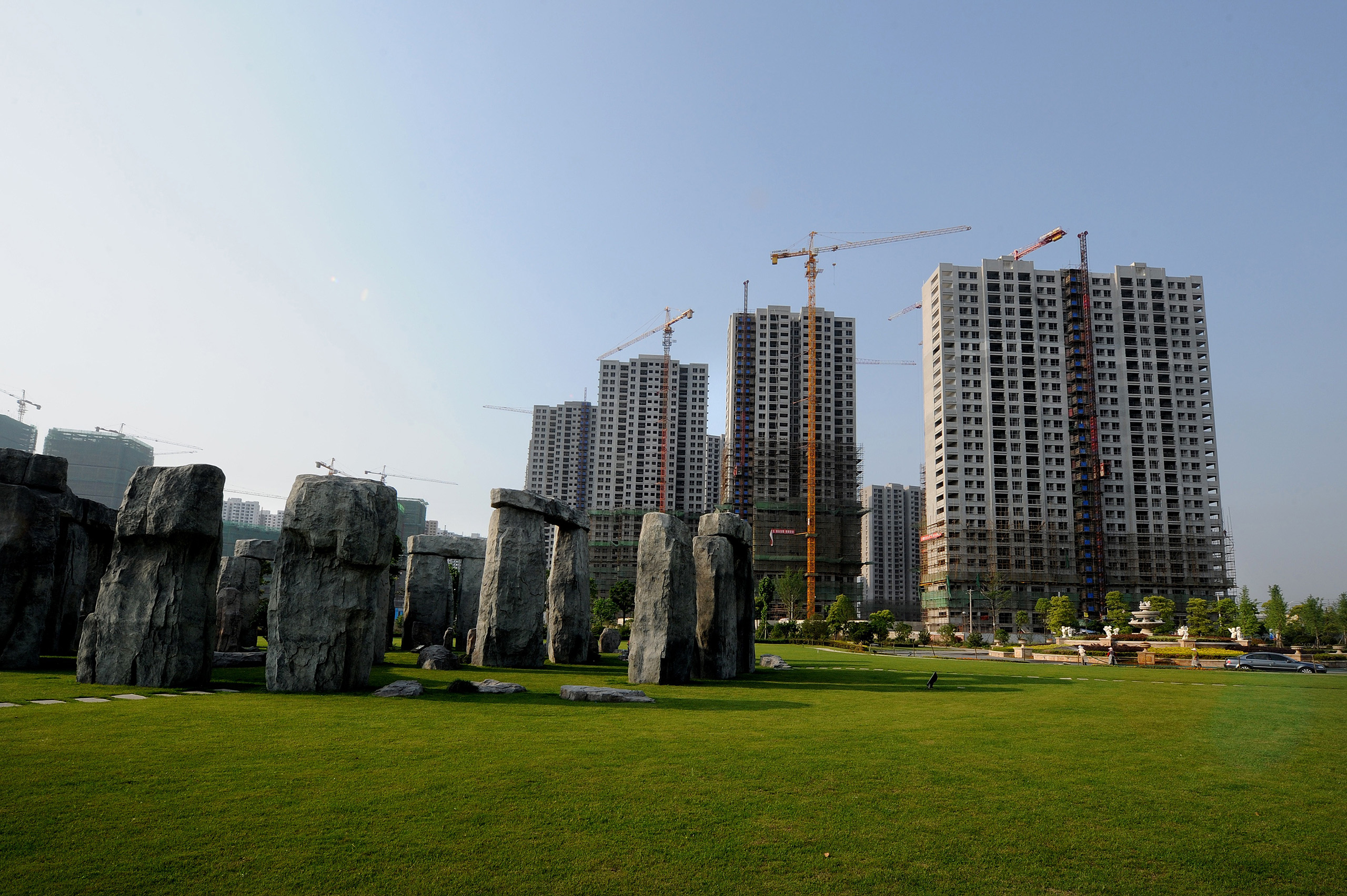 A replica of Stonehenge stands in a park beside a housing project in Hefei, Anhui province.