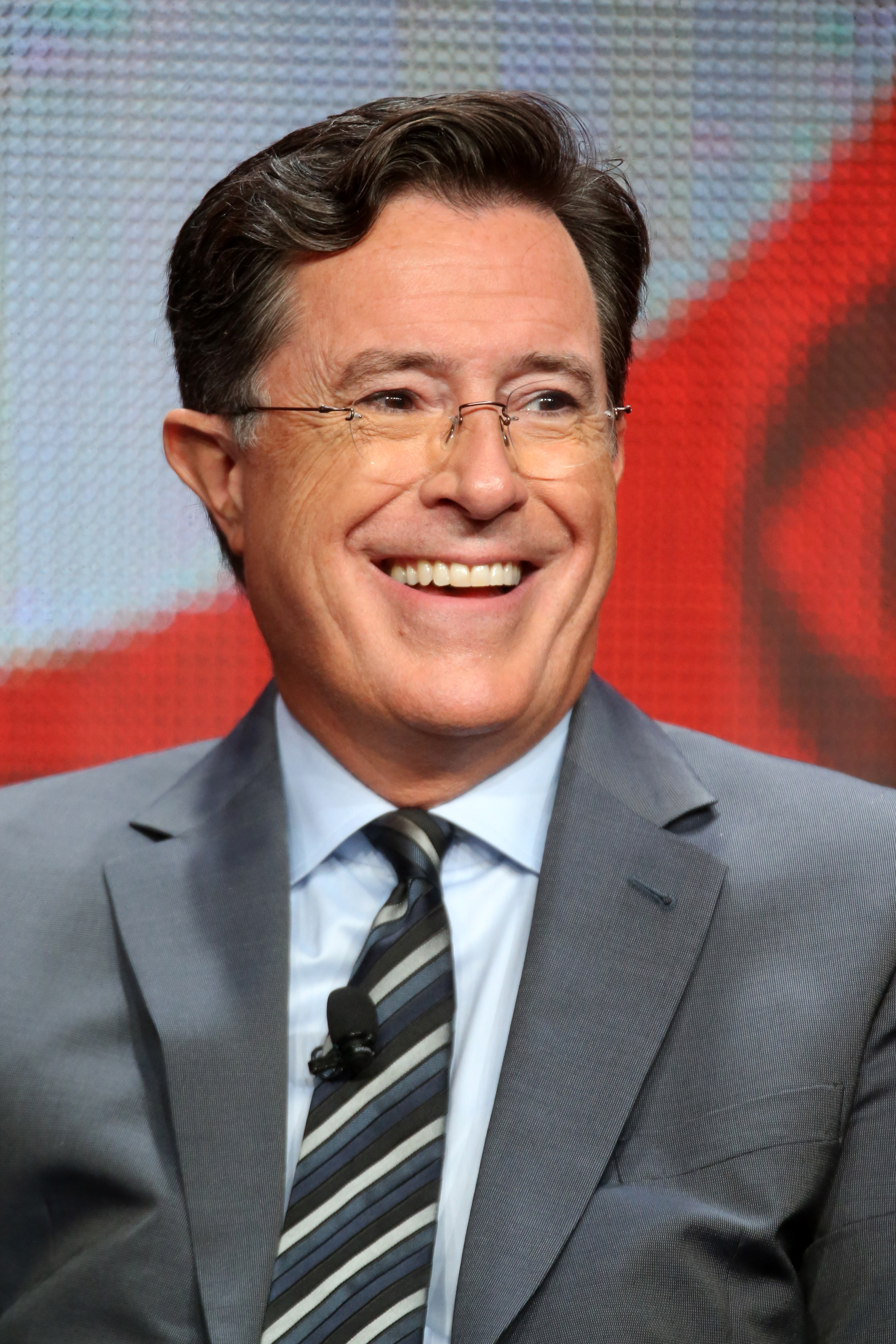 Stephen Colbert speaks onstage during the 'The Late Show with Stephen Colbert' panel discussion in Los Angeles on Aug. 10, 2015.