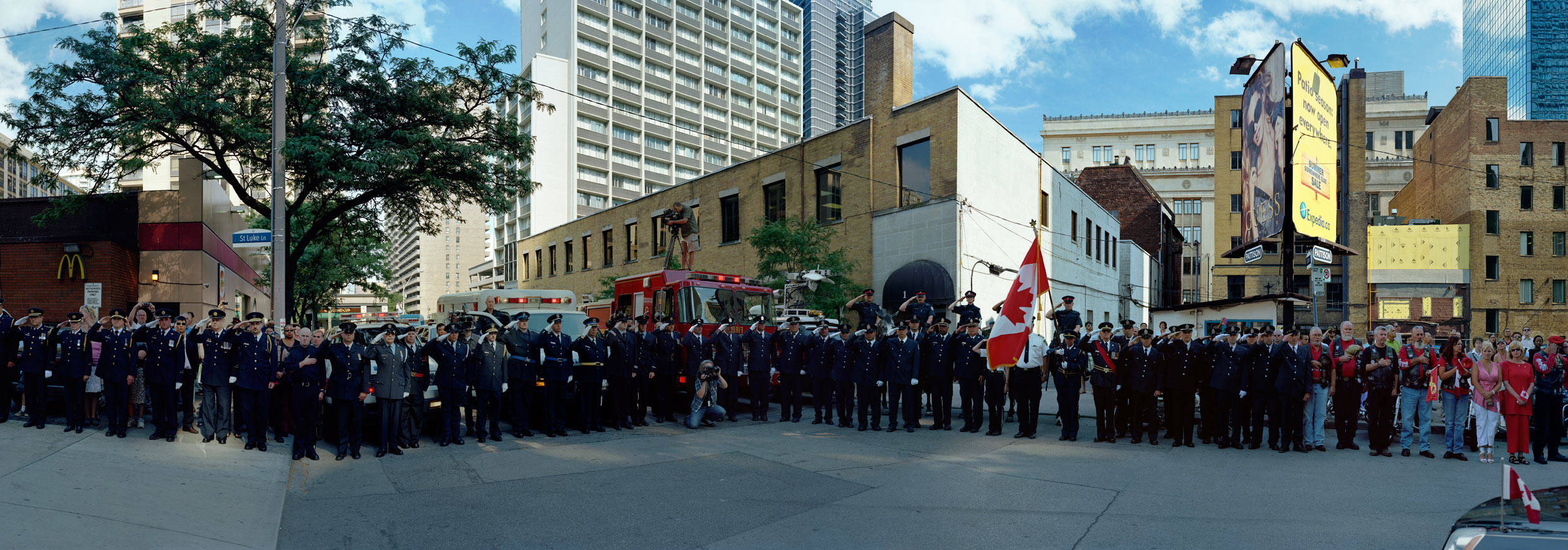 Corner of the Courageous, Repatriation Ceremony for Master Corporal Kristal and Private Andrew Miller, Grenville St., Toronto, Ontario, June 28, 2010.