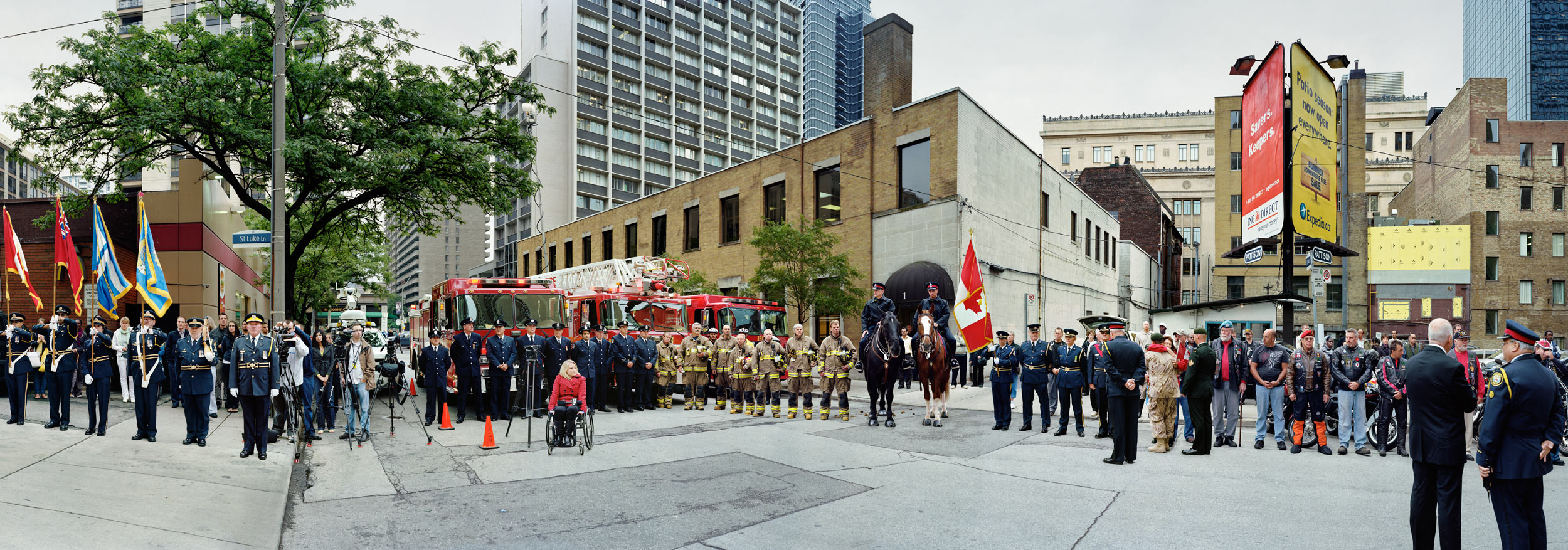 Corner of the Courageous, Repatriation Ceremony for Sergeant Martin Goudreault, Grenville St., Toronto, Ontario, June 9th, 2010