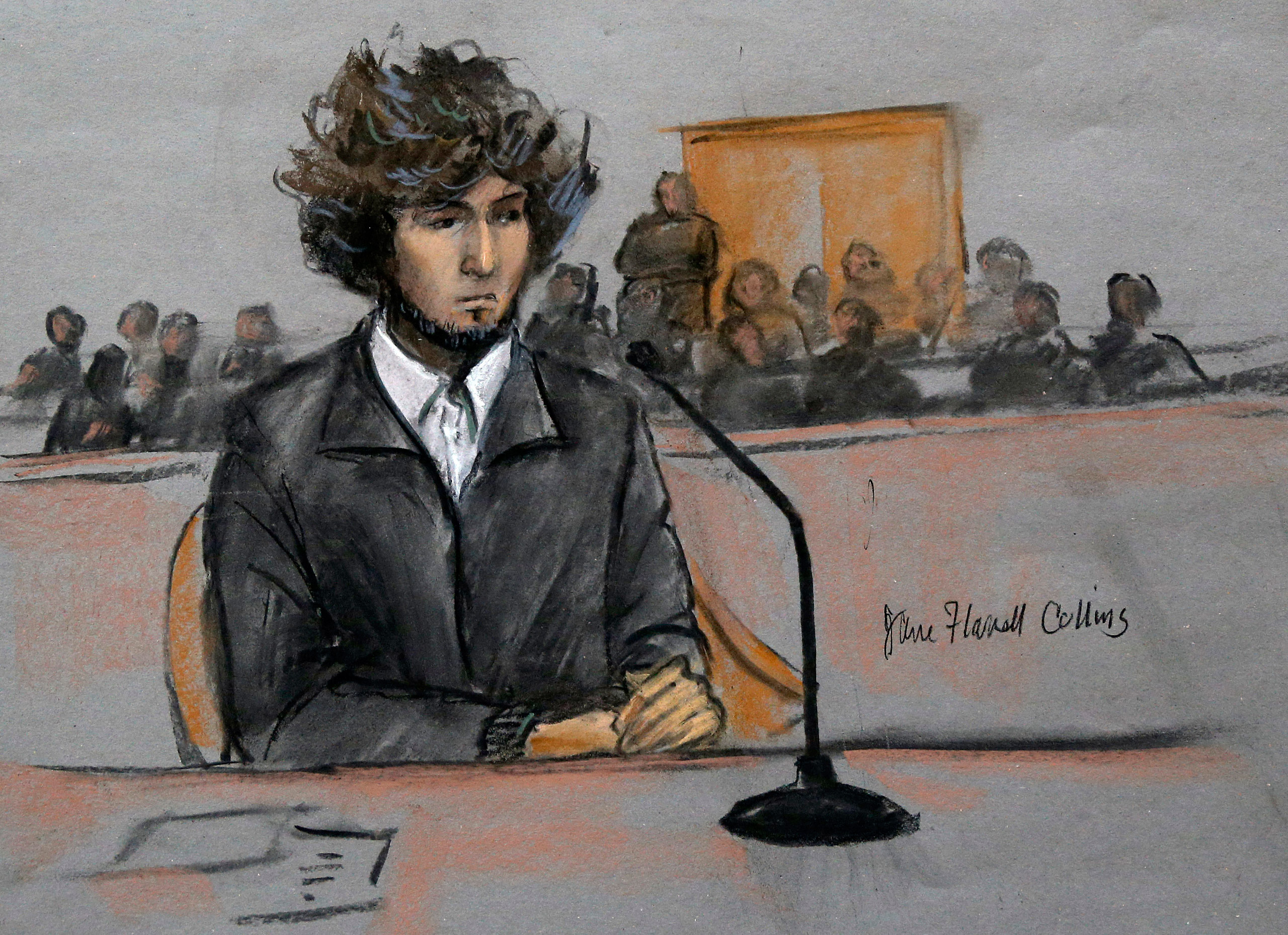 Boston Marathon bomber Dzhokhar Tsarnaev sits in federal court in Boston on Dec. 18, 2014, for a final hearing before the beginning of his trial in January. Tsarnaev was convicted and sentenced to death.