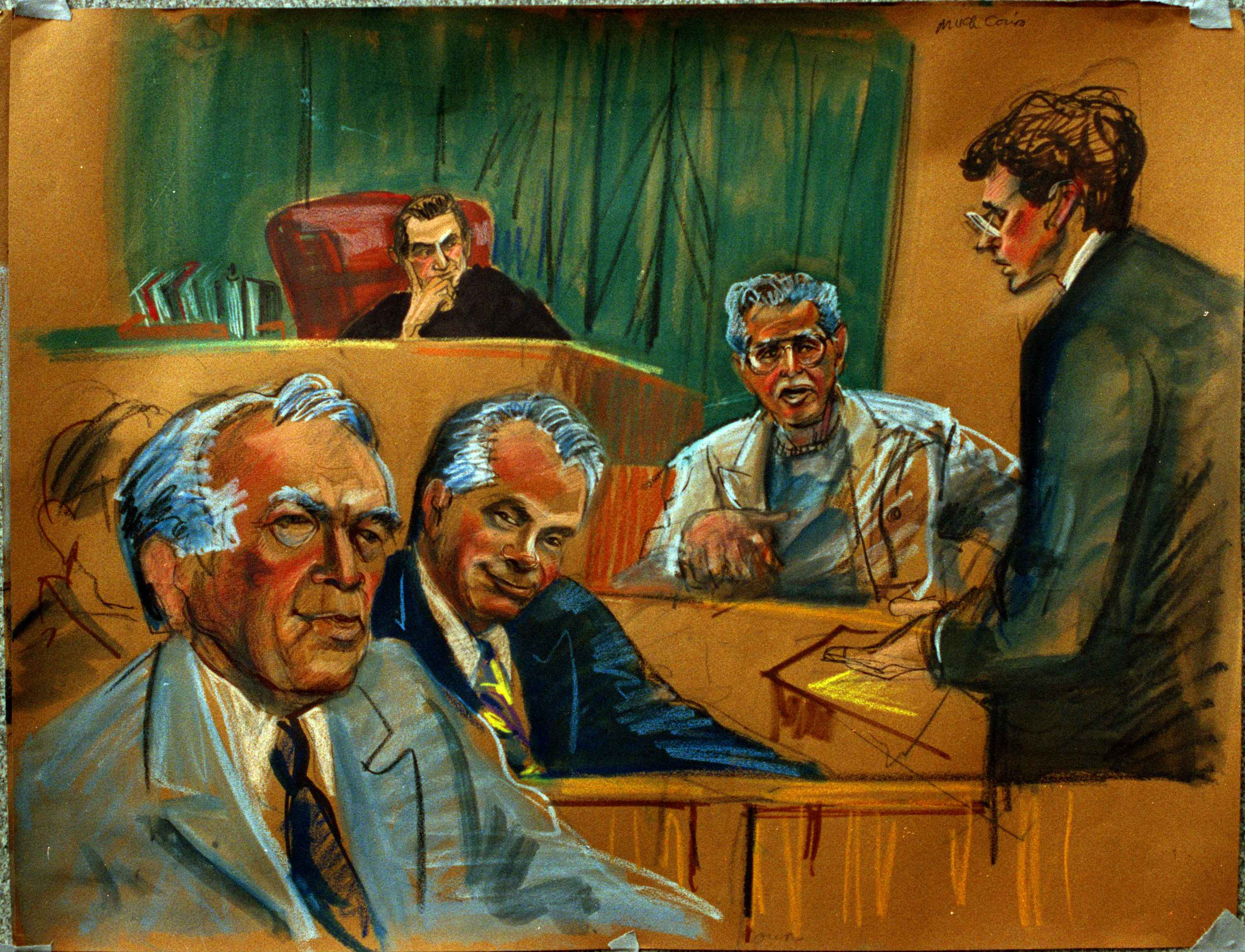 From left: Anthony Quinn, John Gotti, U.S. District Judge I. Leo Glasser; witness Anthony Gurino and assistant U.S. attorney John Gleeson on March 21, 1992. The judge threatened to send Gotti to a court house hold after he was caught making mocking gestures at a prosecuting attorney. Gotti was sentenced to life in prison without parole.