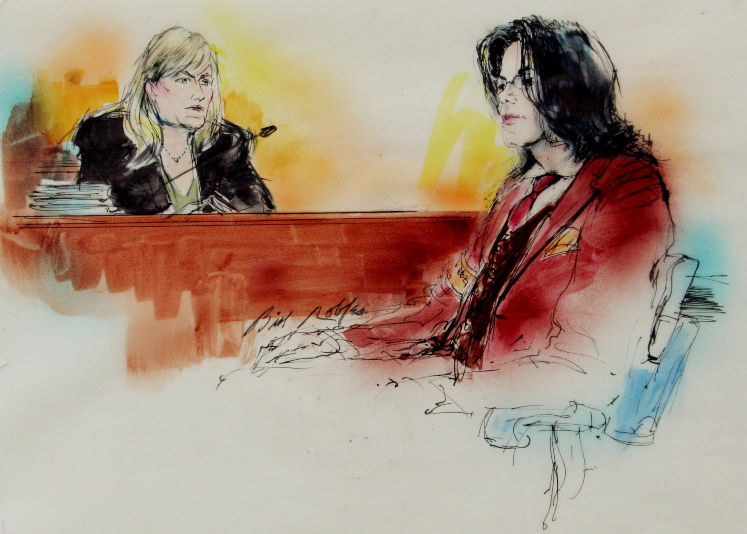 Michael Jackson and his ex-wife Debbie Rowe seated in court inside the Santa Barbara County courthouse on April 27, 2005, in Santa Maria, Calif., where Jackson was on trial for child molestation. The jury found Jackson not guilty on all charges.