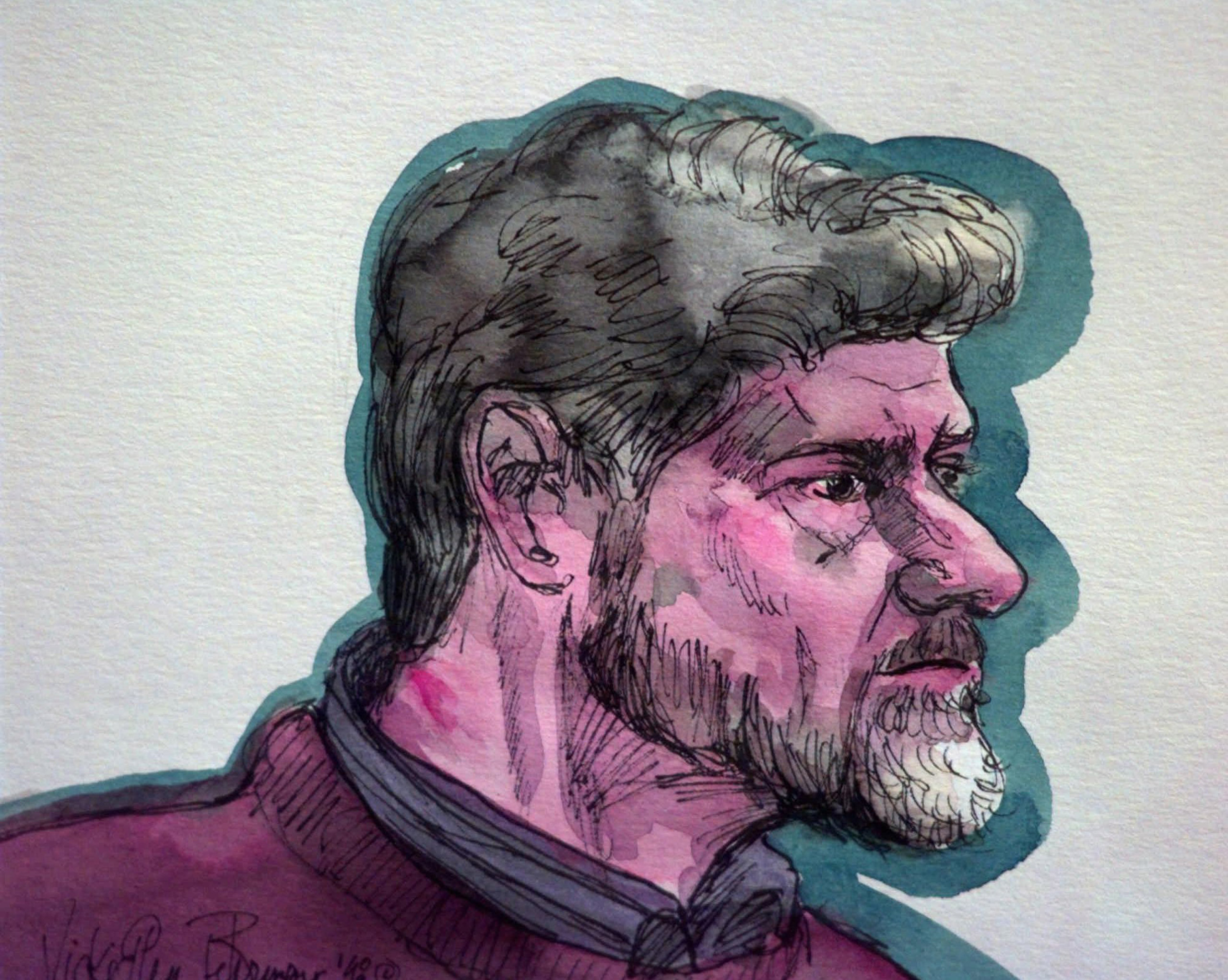 Unabomber Ted Kaczynski appears in Federal Court with a red mark on his neck in Sacramento, Calif., on Jan. 9, 1998. Authorities said Kaczynski attempted to hang himself in his jail cell the day before. Kaczynski was sentenced to eight consecutive life sentences.