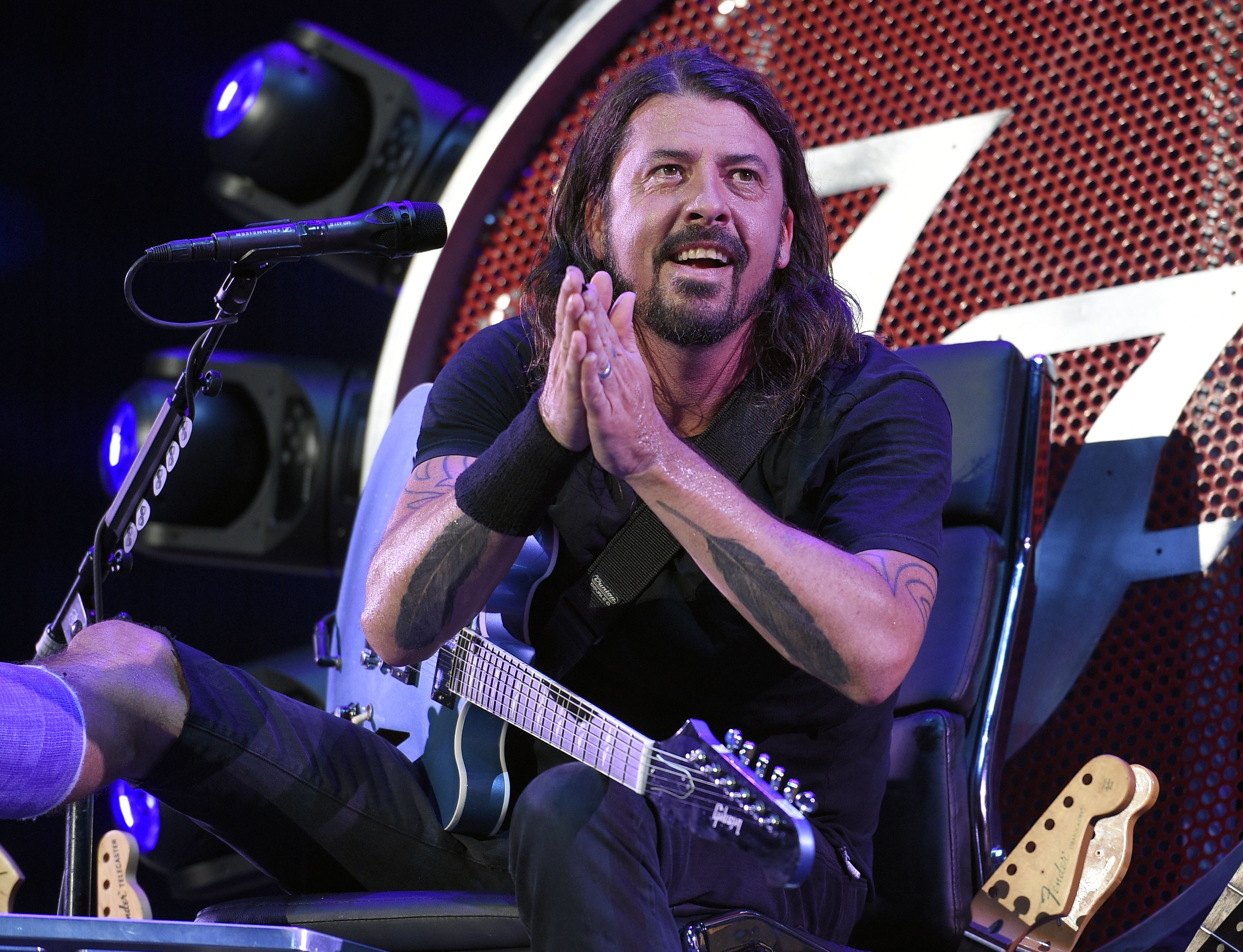 The Foo Fighters' Dave Grohl performs at RFK Stadium on July 4, 2015, in Washington.