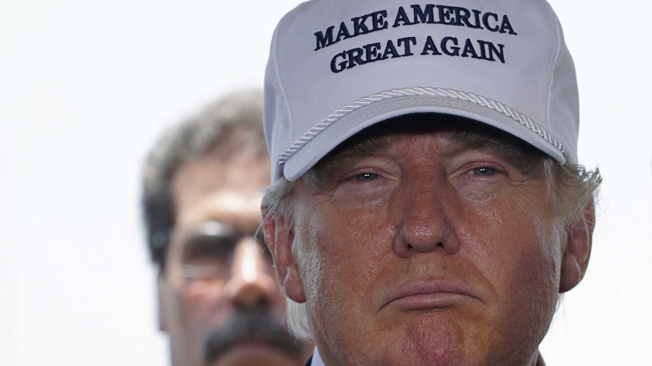 Republican presidential candidate Donald Trump is pictured at a news conference near the U.S.-Mexico border outside of Laredo, Texas on July 23, 2015.
